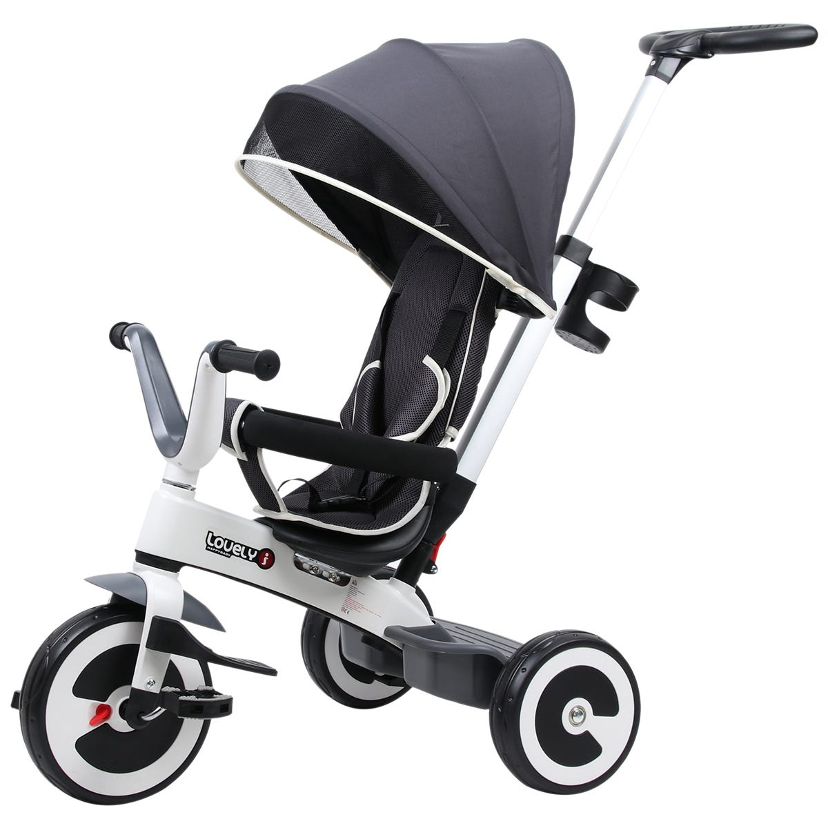 Reiten 4-in-1 Baby Tricycle & Stroller with Canopy - Dark Grey