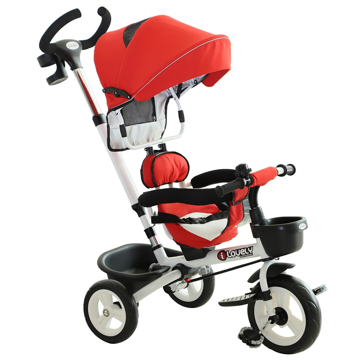 Reiten 4-in-1 Kids Tricycle & Stroller with Canopy - Red
