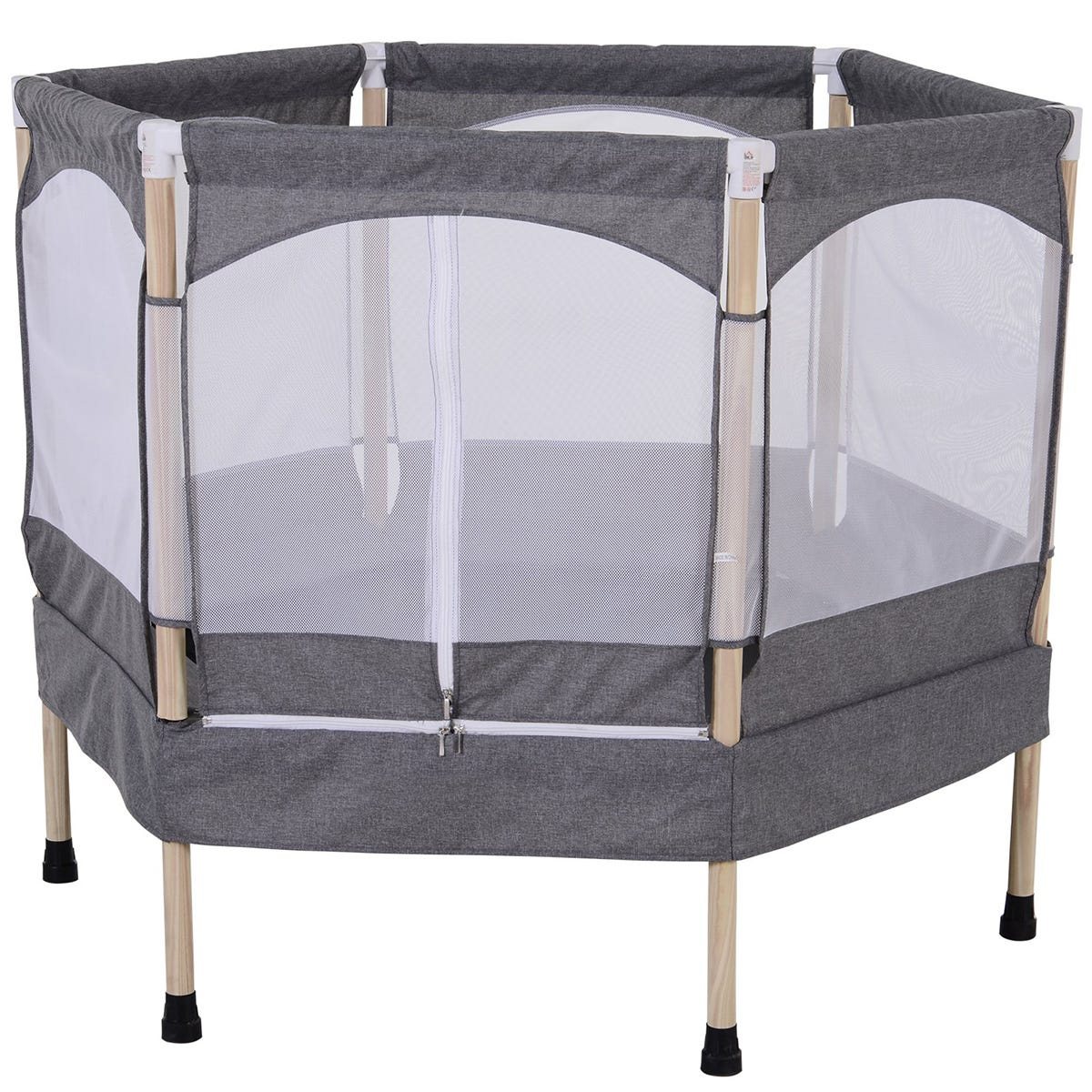 Jouet 3ft Kids Trampoline Outdoor Bounce Hexagon with Safety Enclosure Net & Spring Pad - Grey