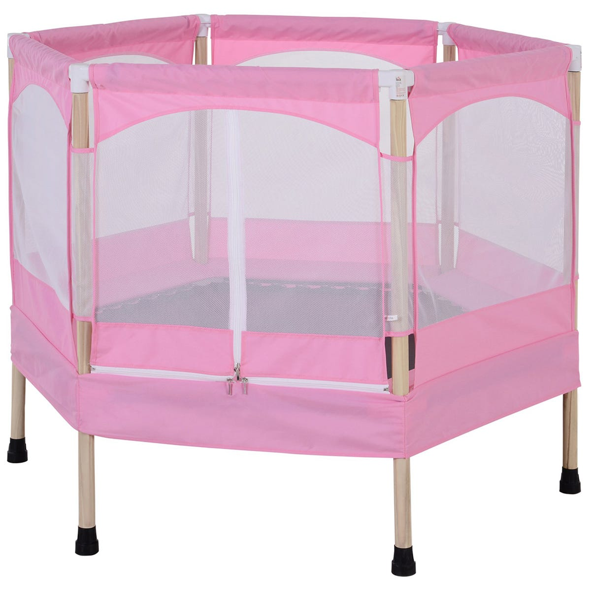 Jouet 3ft Kids Trampoline Outdoor Bounce Hexagon with Safety Enclosure Net & Spring Pad - Pink