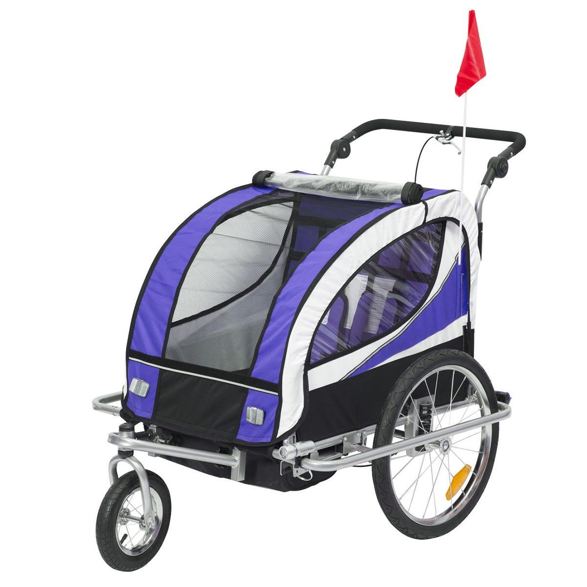 Reiten 2-in-1 Kids 2 Seater Bicycle Trailer & Stroller - Purple