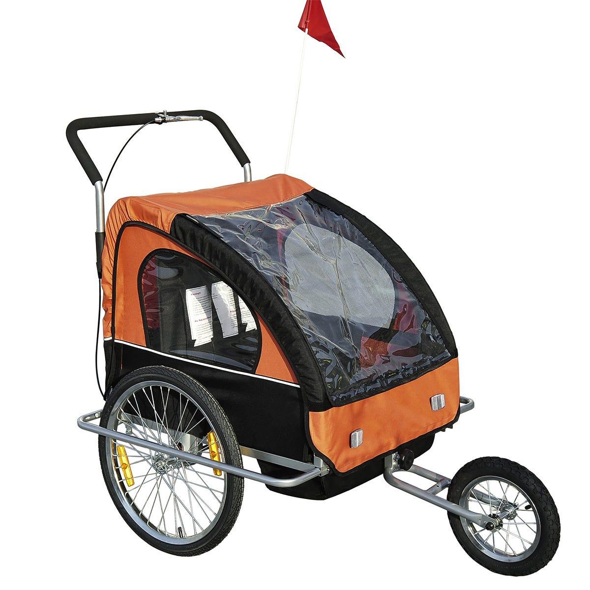 Reiten Multifunctional Kids 2 Seater Bicycle Trailer & Stroller - Black/Orange