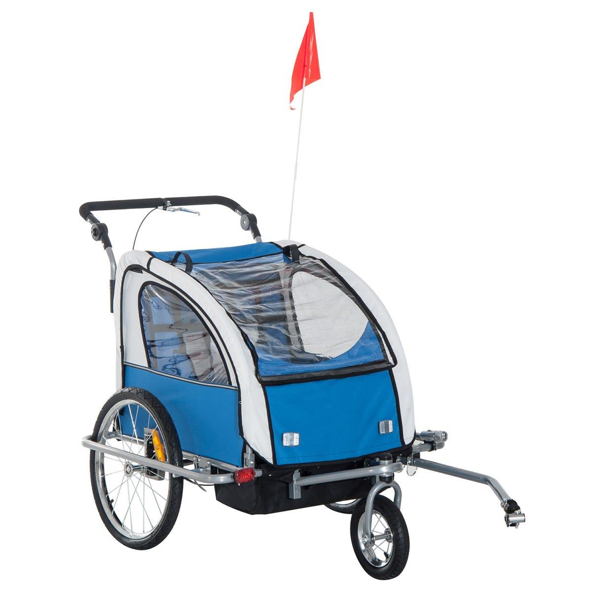Reiten 2-in-1 Kids Bike Trailer & Stroller with Removable Canopy - Blue/Grey