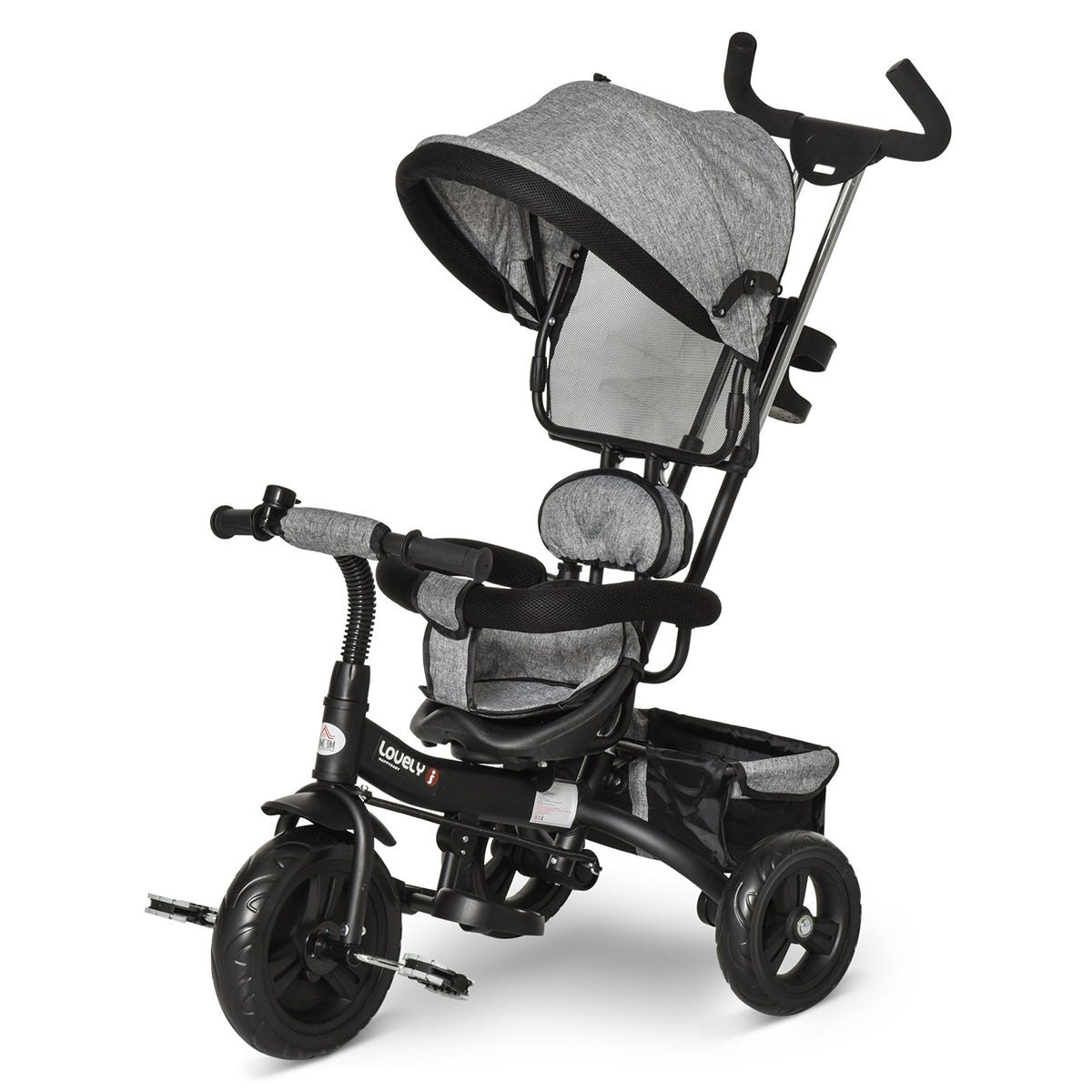 Reiten Kids Tricycle Ride On & Stroller with Canopy - Grey