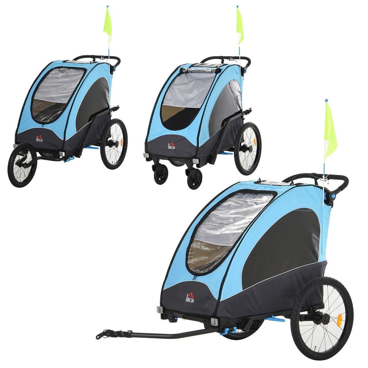 Reiten 3-in-1 Kids 2 Seater Bike Trailer & Stroller with Shock Absorber - Blue/Black
