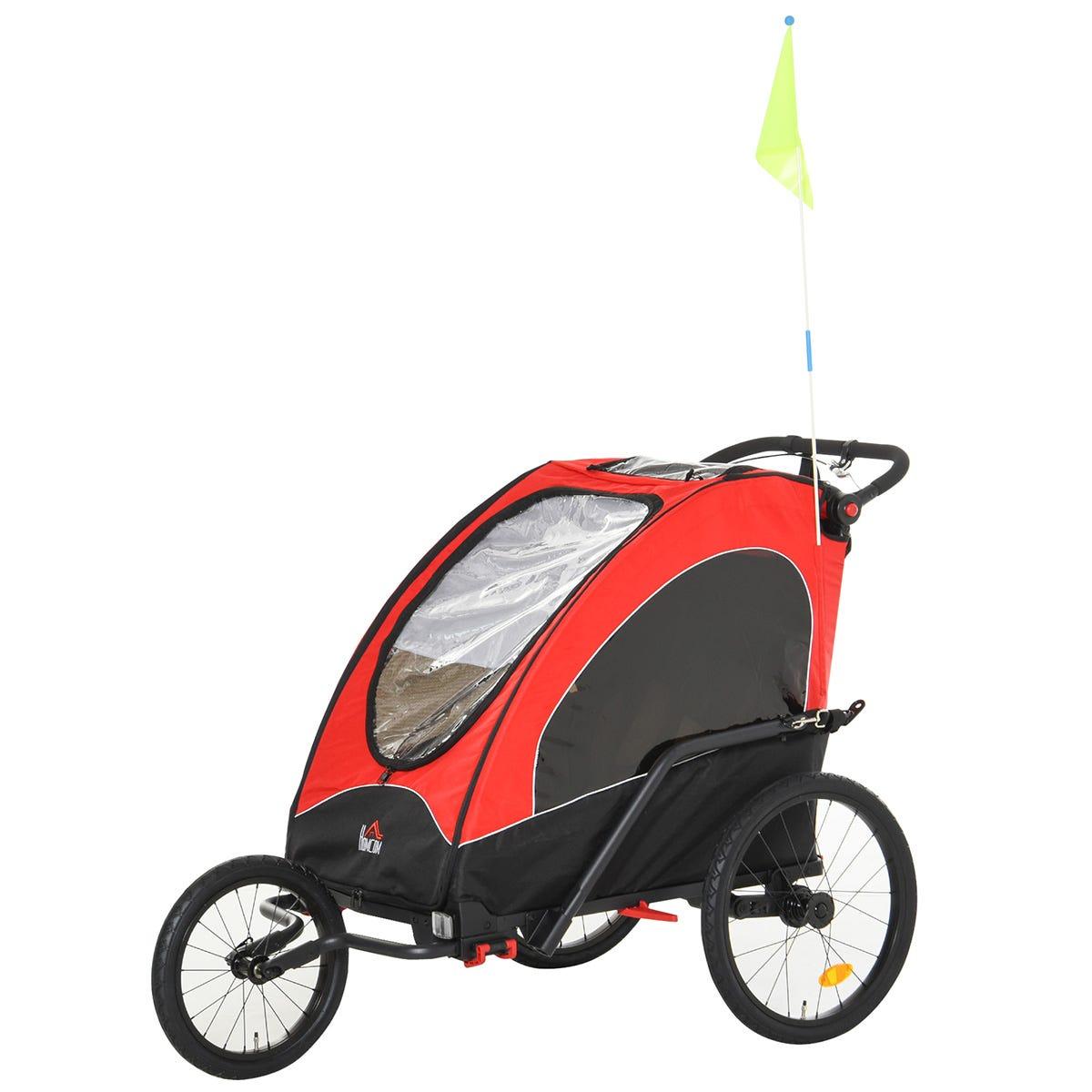 Reiten 3-in-1 Kids 2 Seater Bike Trailer & Stroller with Shock Absorber - Red/Black
