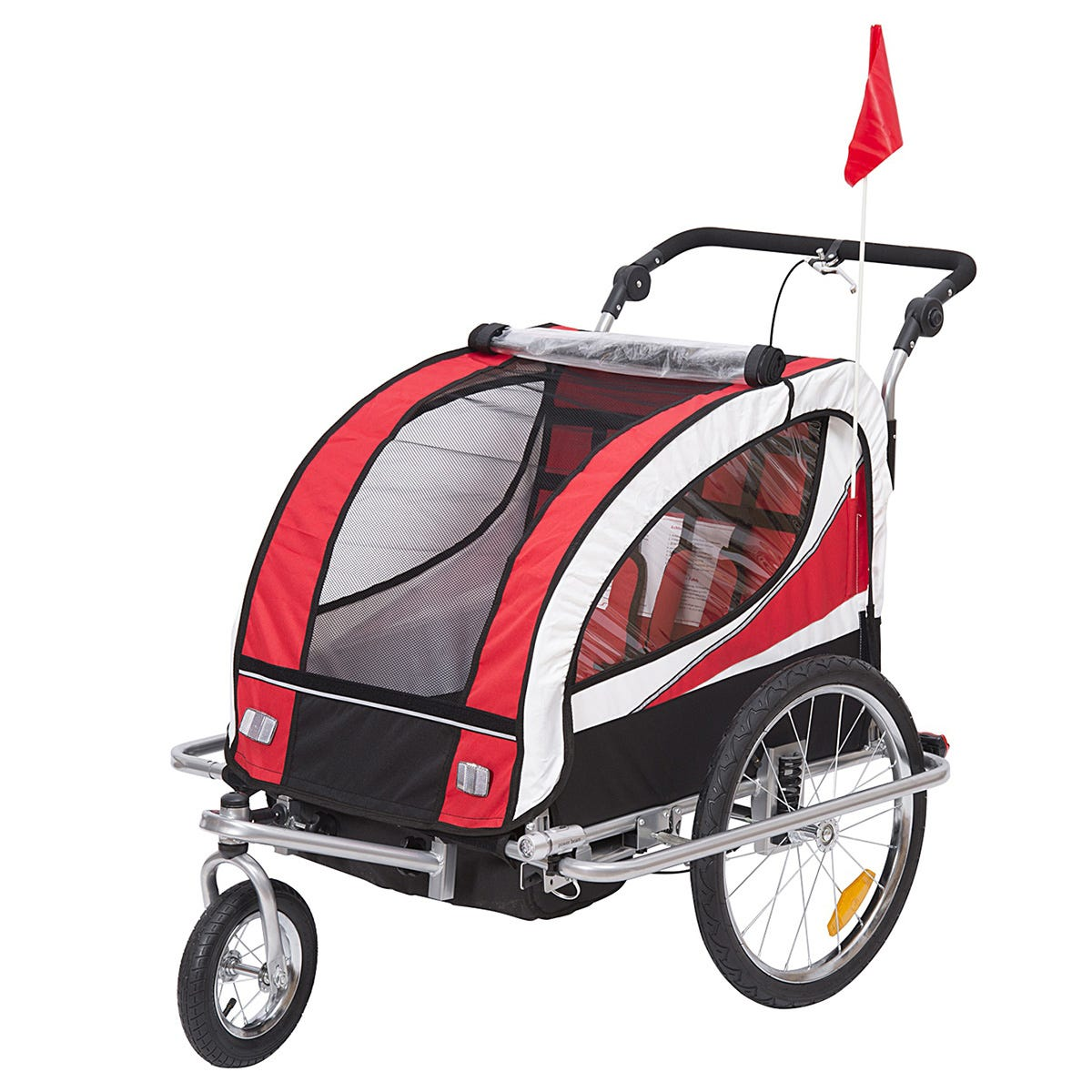 Reiten 2-in-1 Kids 2 Seater Bicycle Trailer & Stroller - Red/White/Black