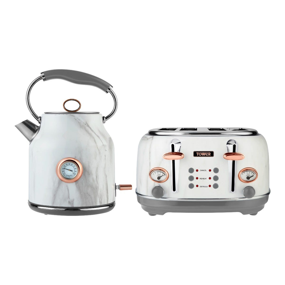 Tower 1.7L Traditional Kettle and 4 Slice Toaster Set - White Marble