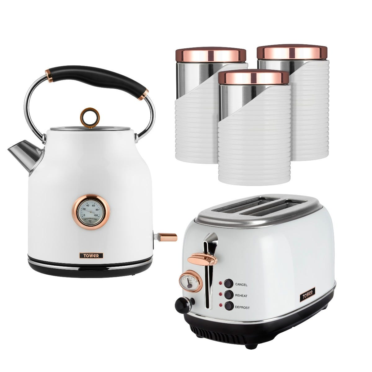 Tower 1.7L Traditional Kettle and 2 Slice Toaster Set with 3 Canisters - White and Rose Gold