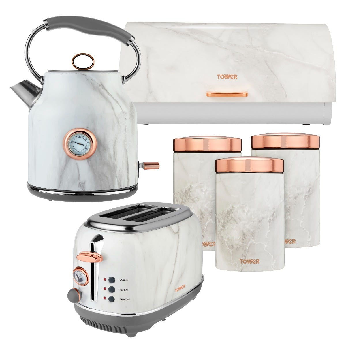 Tower 1.7L Kettle and 2 Slice Toaster Set with 3 Canisters and Bread Bin - White Marble