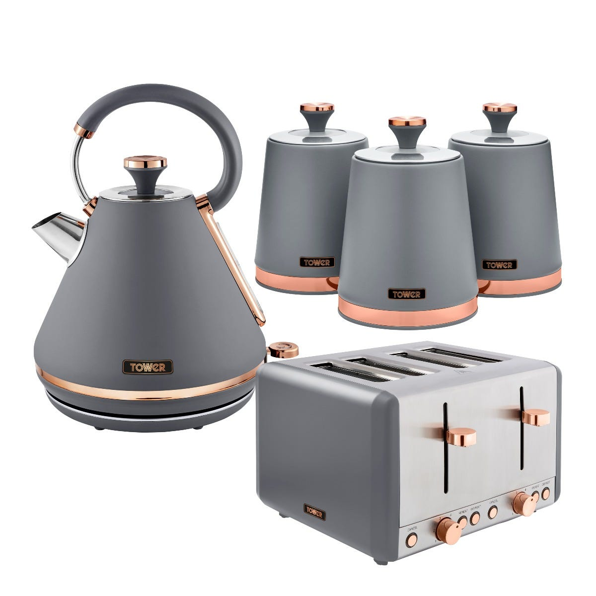 Tower Cavaletto 1.7L Kettle and 4 Slice Toaster Set with 3 Canisters - Grey