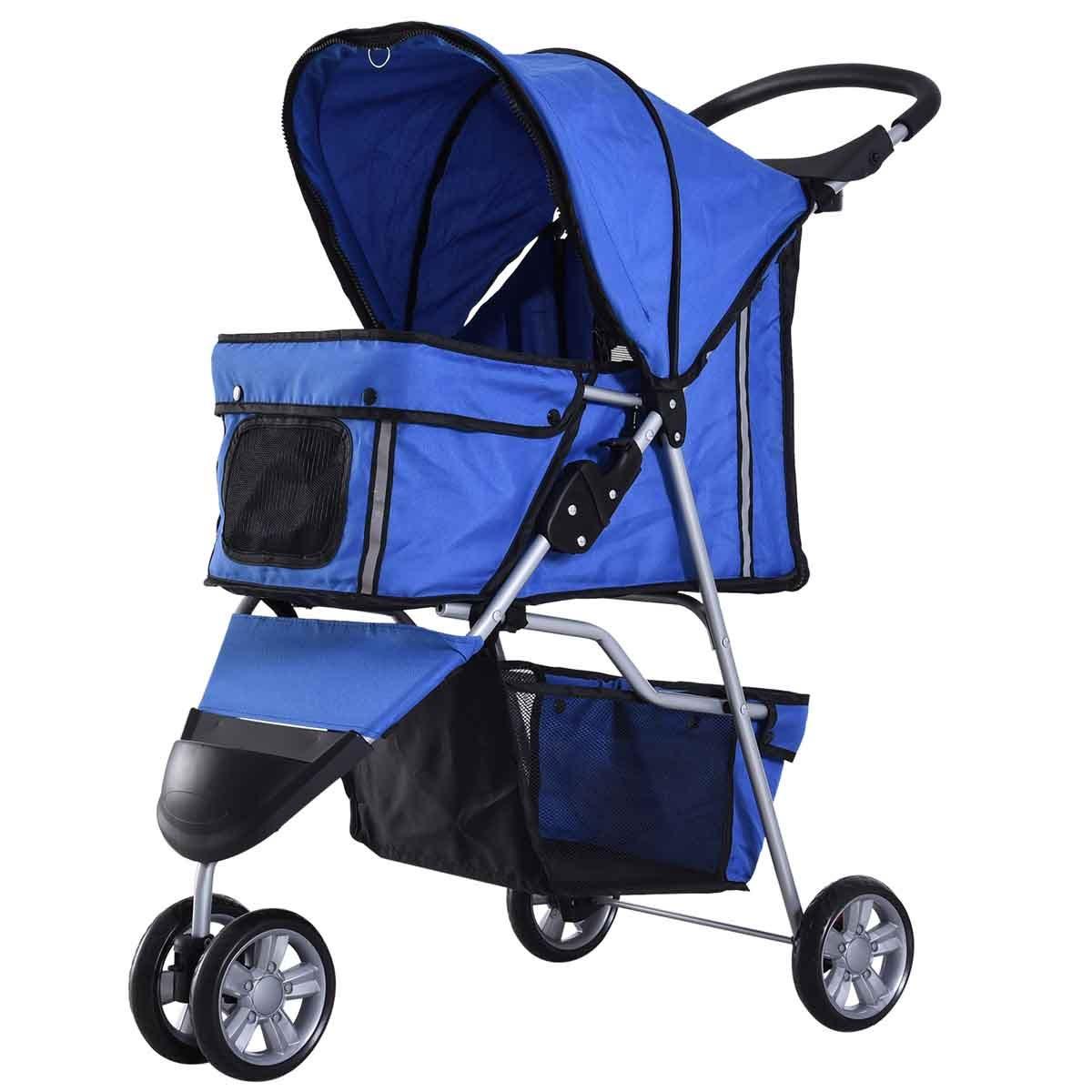 PawHut 3 Wheel Pet Stroller Pram - Blue