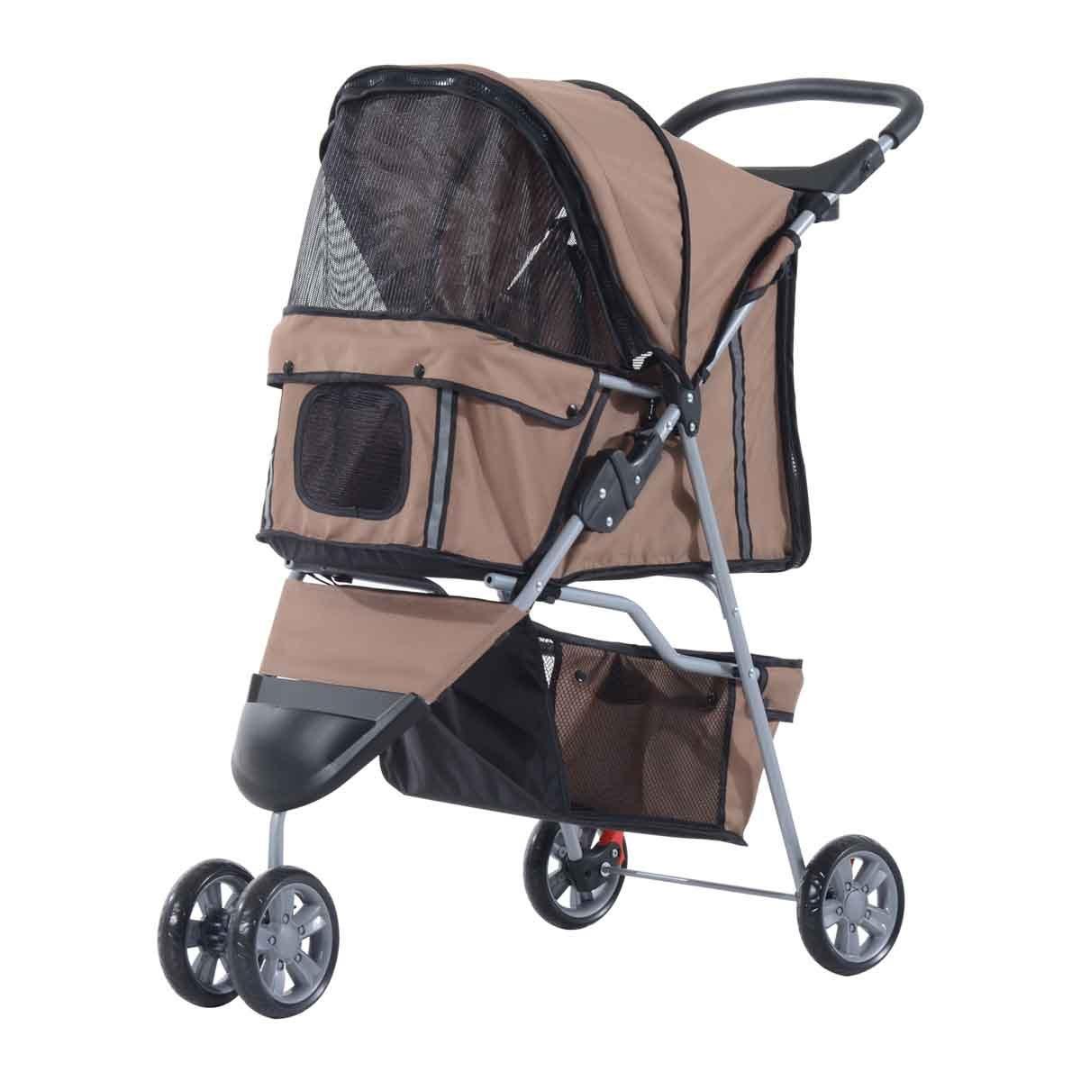 PawHut 3 Wheel Pet Stroller Pram - Coffee