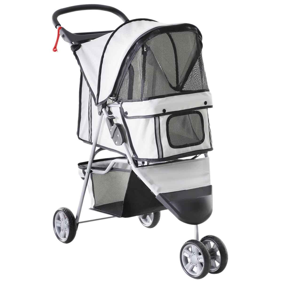 PawHut 3 Wheel Pet Stroller Pram - Grey