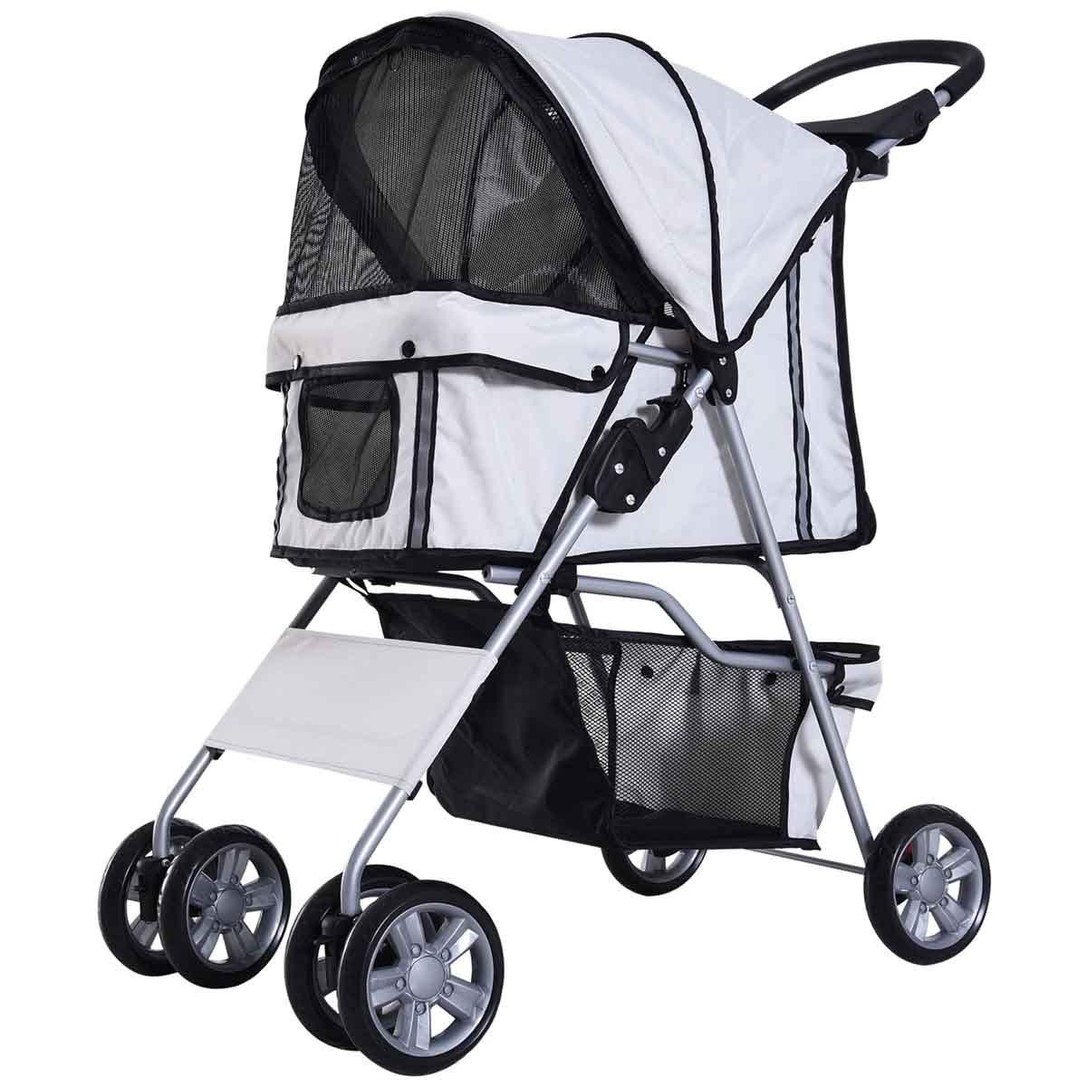 PawHut 4 Wheel Pet Stroller Pram - Grey