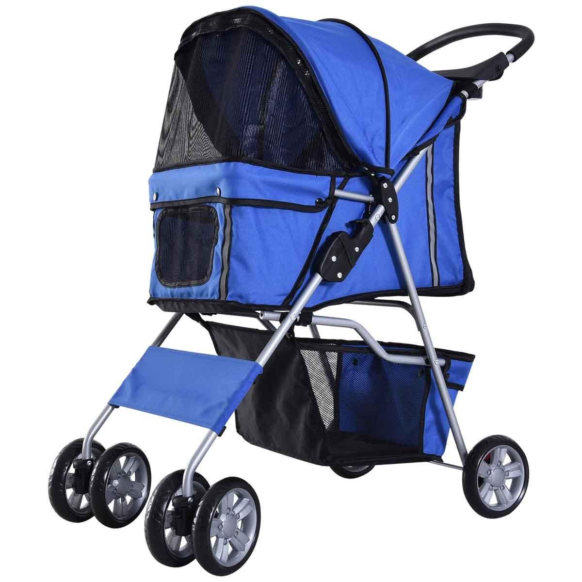 PawHut 4 Wheel Pet Stroller Pram - Blue
