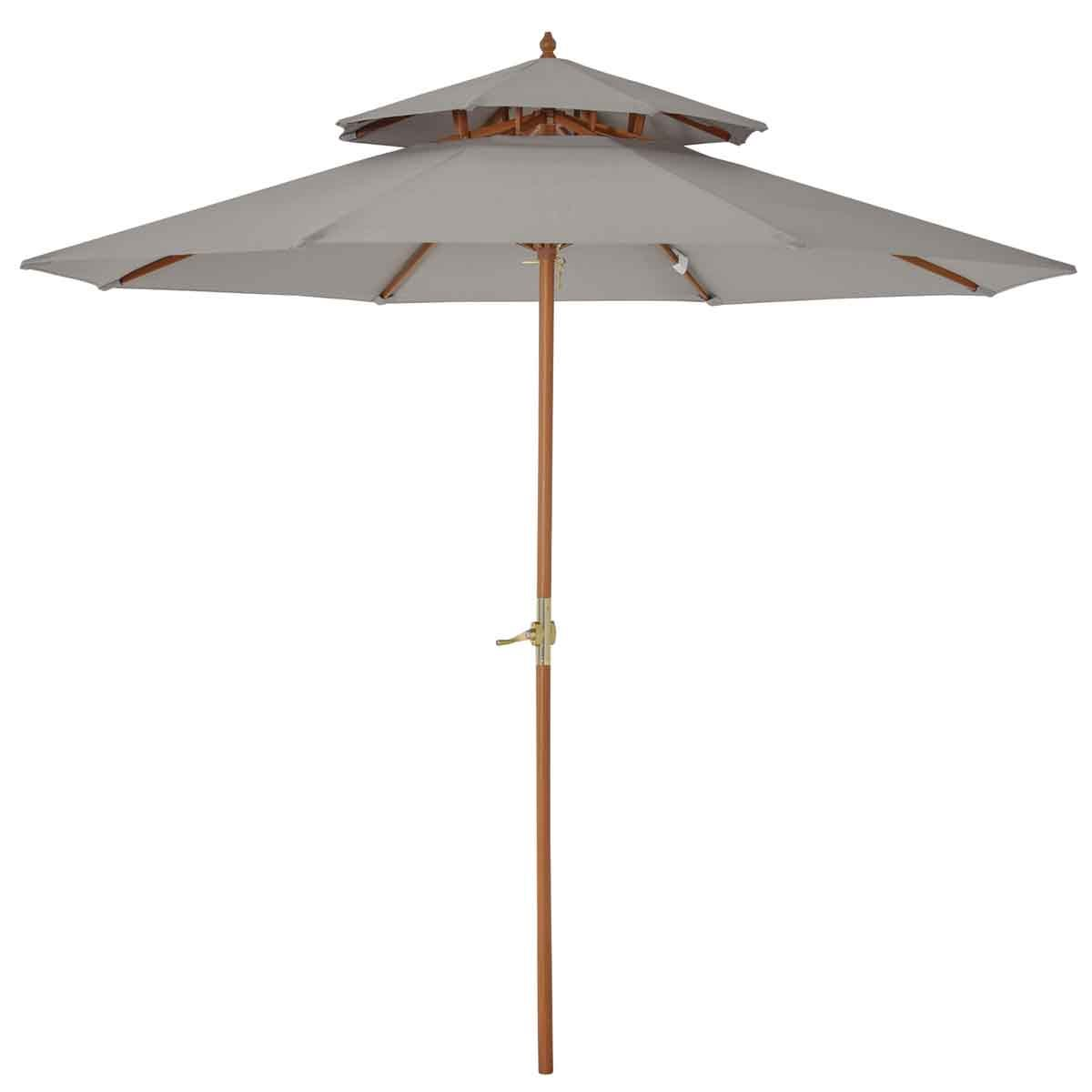 Outsunny Wooden Patio Parasol (base not included) - Grey