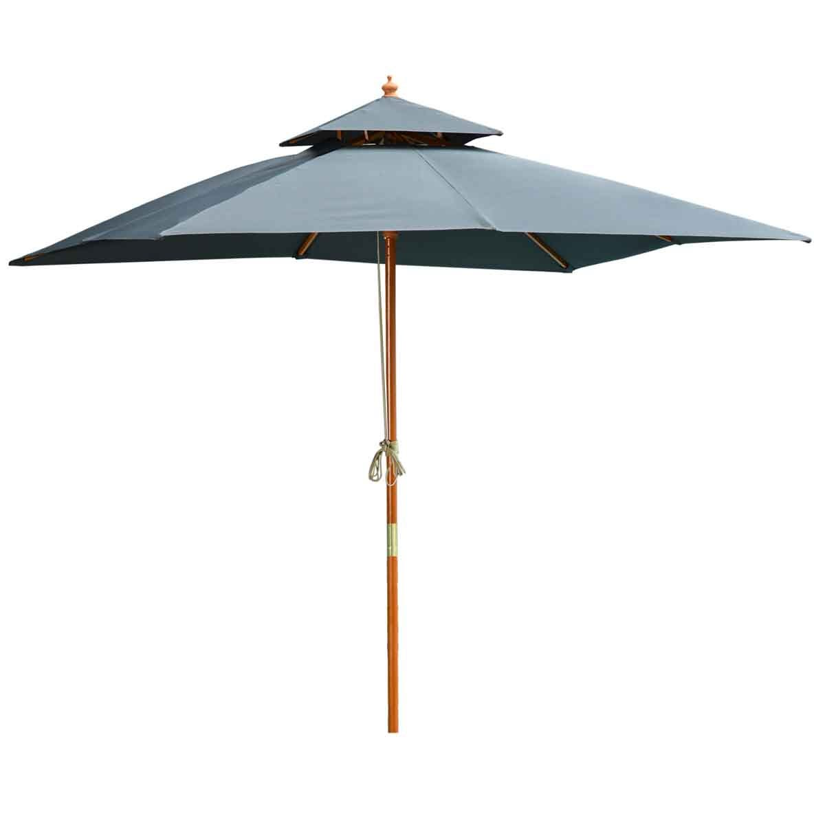 Outsunny 3m Wooden Square Parasol (base not included) - Grey