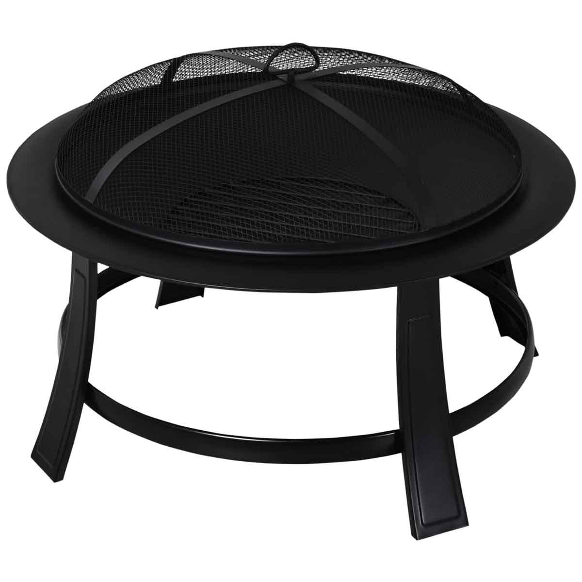 Outsunny Fire Pit with Mesh Cover and Poker - Black