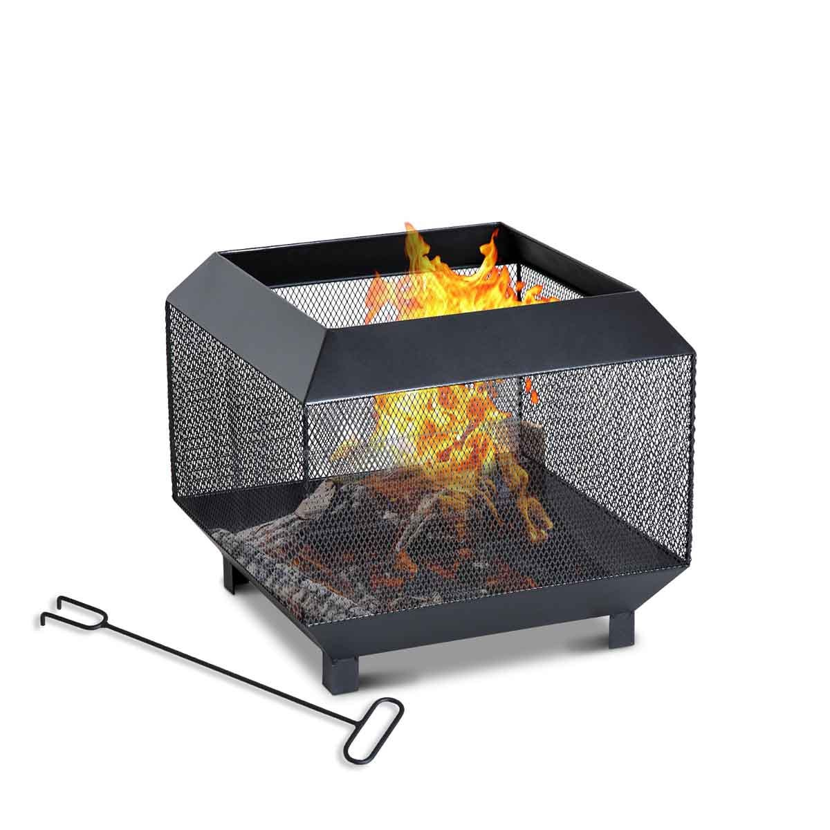 Outsunny Cube Fire Pit with Poker - Black