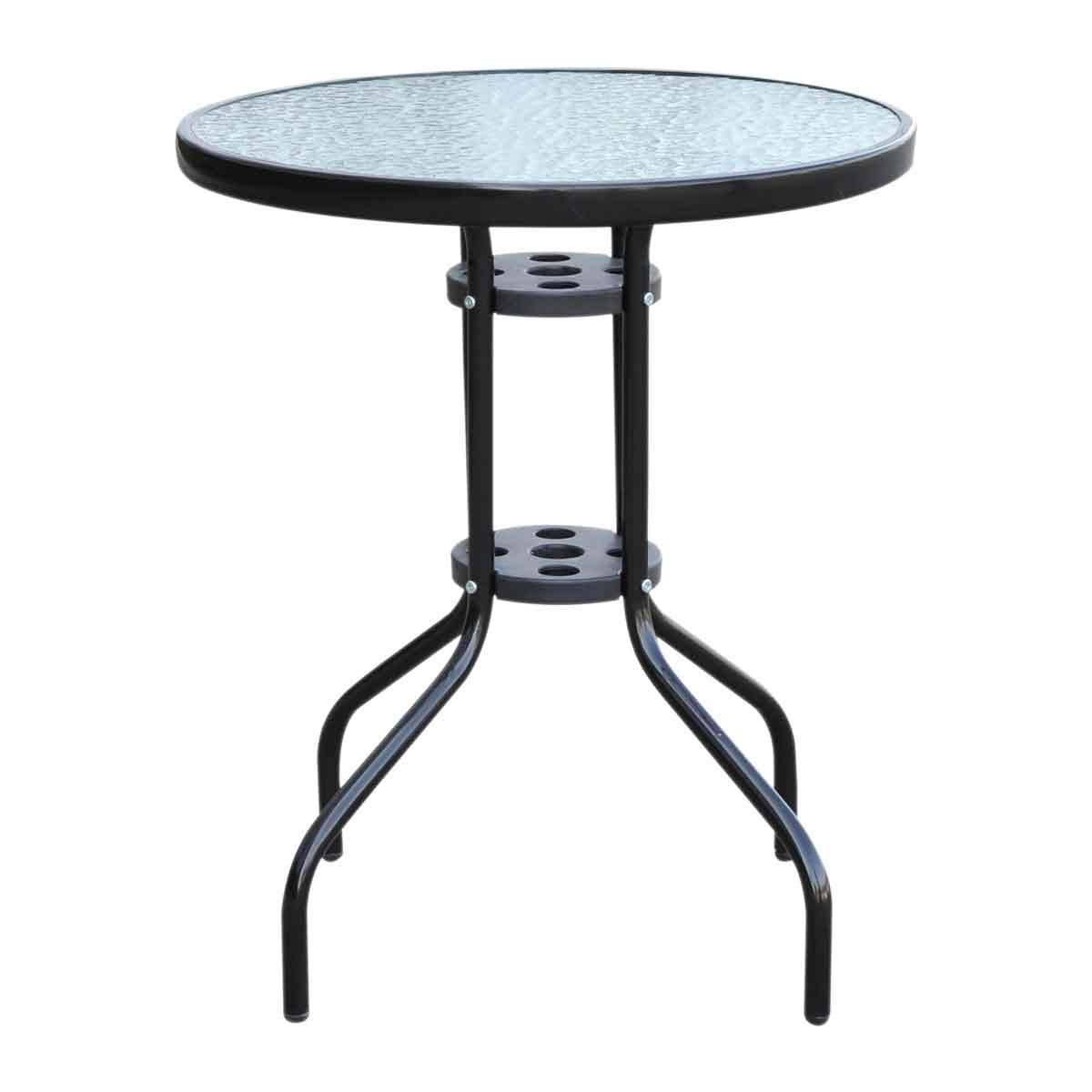Outsunny Portable Round Metal Garden Table - Black
