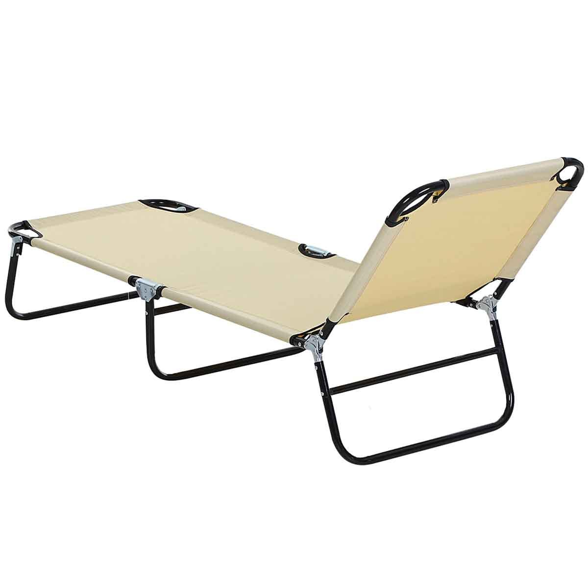 Outsunny Folding Sun Lounger Chair - Beige
