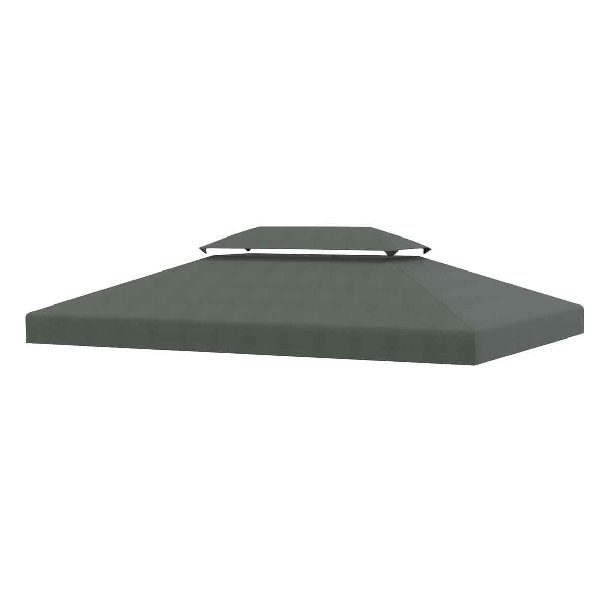 Outsunny 3x4m Replacement Gazebo Canopy - Deep Grey