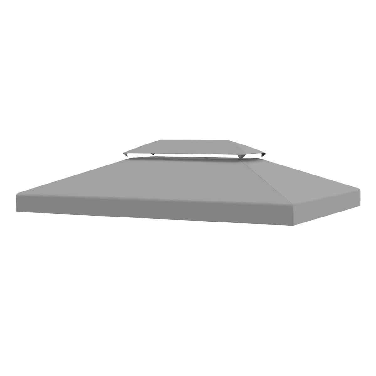 Outsunny 3x4m Replacement Gazebo Canopy - Light Grey