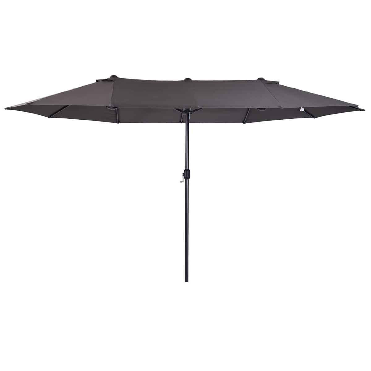 Outsunny 4.6m Double Canopy Parasol (base not included) - Dark Grey