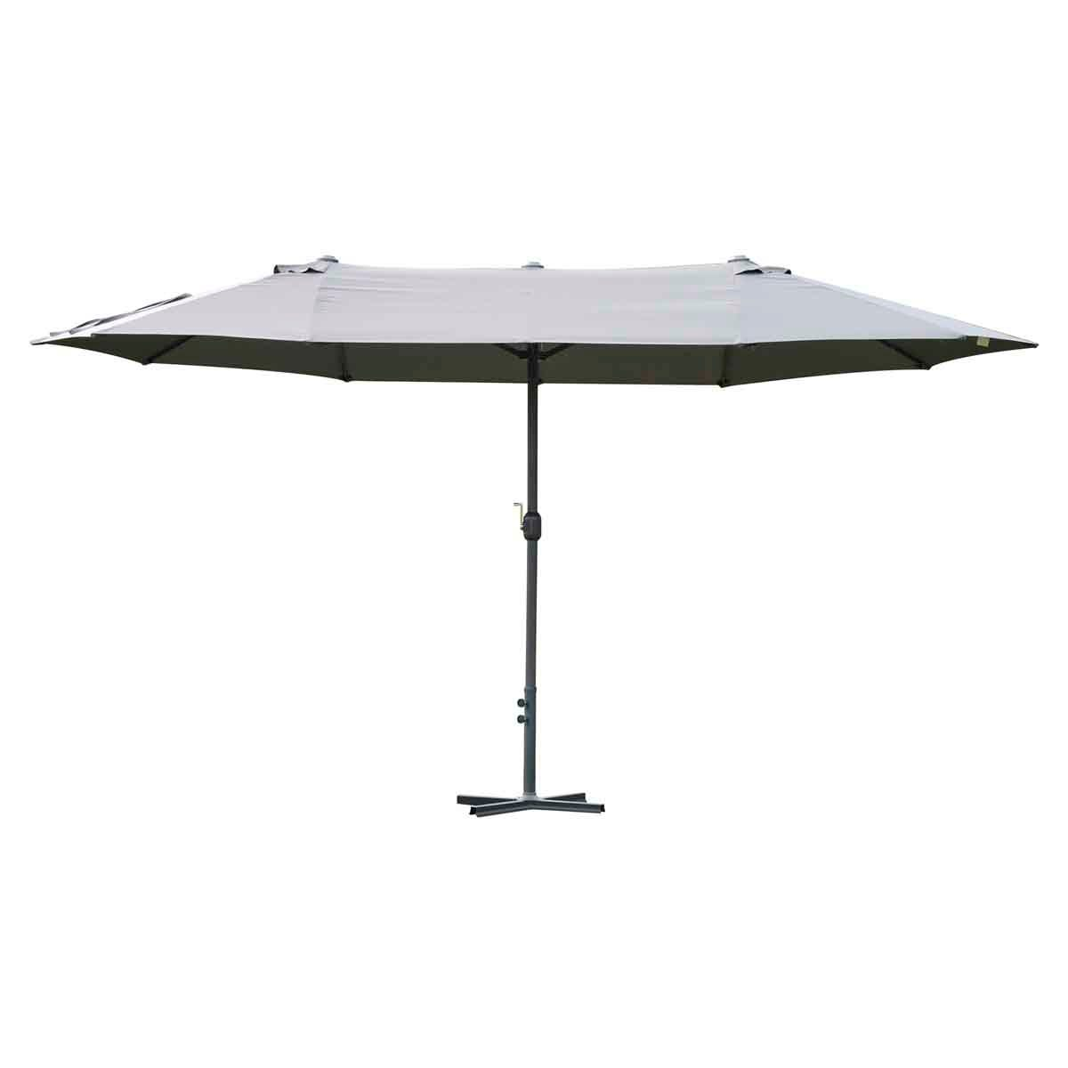 Outsunny 4.6m Double Canopy Parasol (base not included) - Light Grey