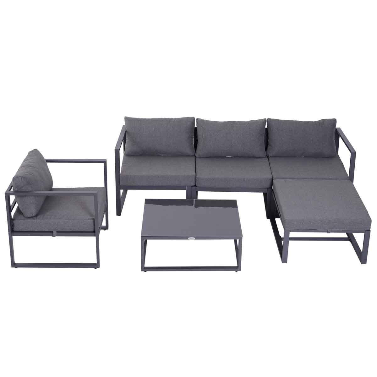 Outsunny 6 Piece Modular Garden Sofa Set - Grey