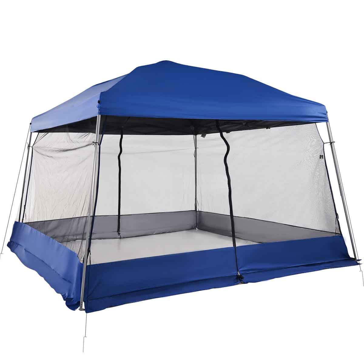 Outsunny 3.6 x 3.6 Pop Up Gazebo with Mesh Walls - Blue
