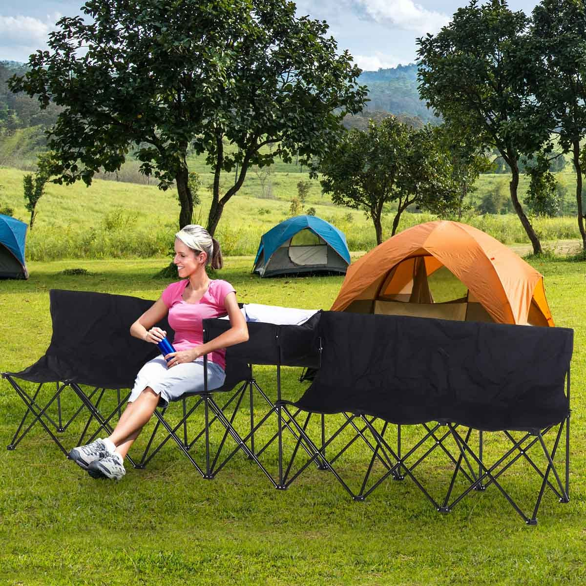 Outsunny 6 Seater Portable Bench System with Cool Bag - Black
