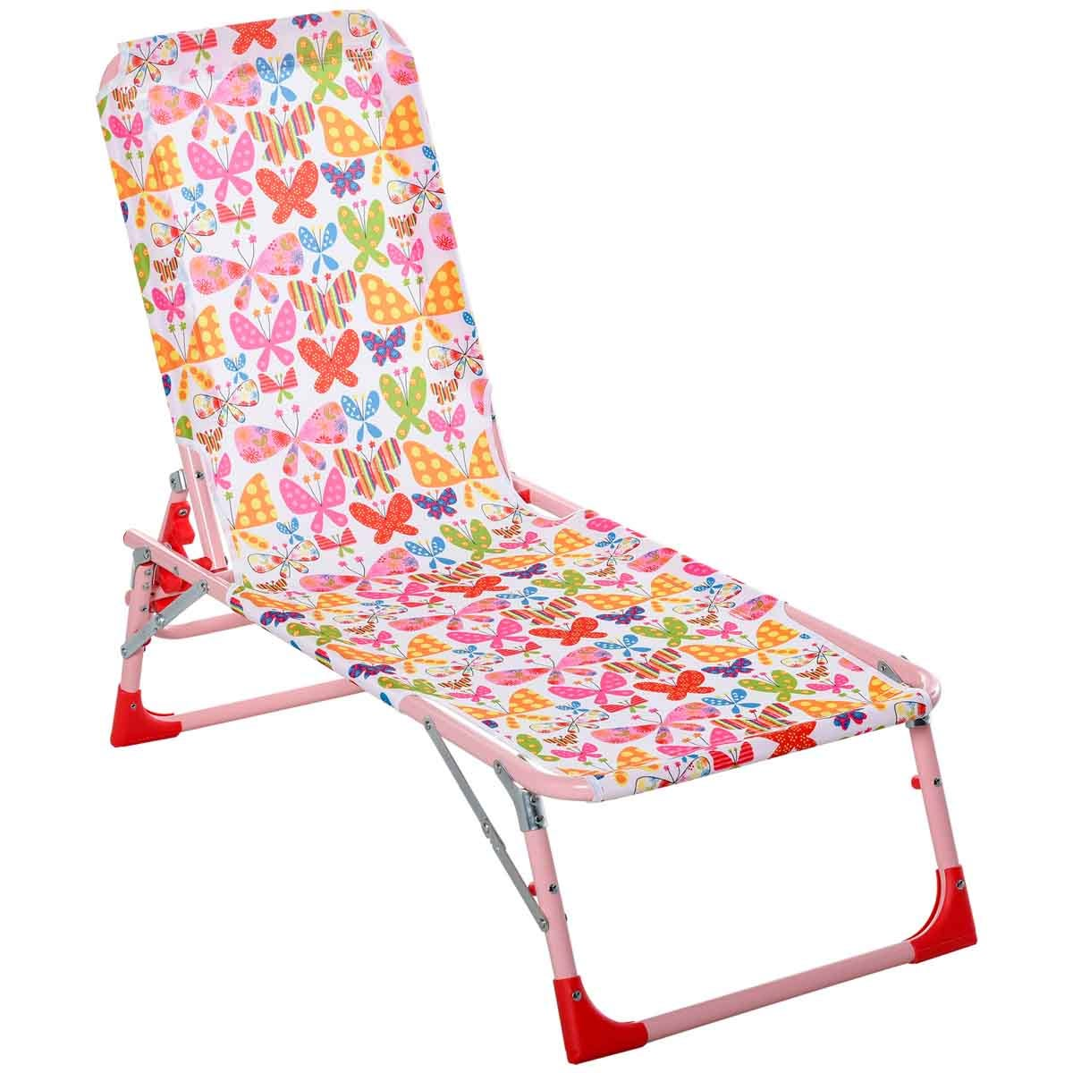 Outsunny Childrens Sun Lounger in Butterfly Design