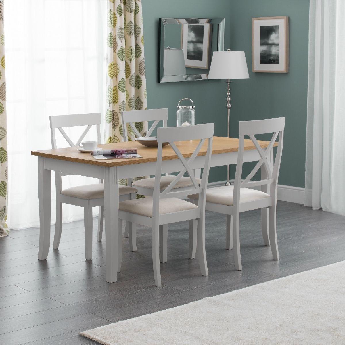 Julian Bowen Davenport Oak Elephant Grey Dining Table