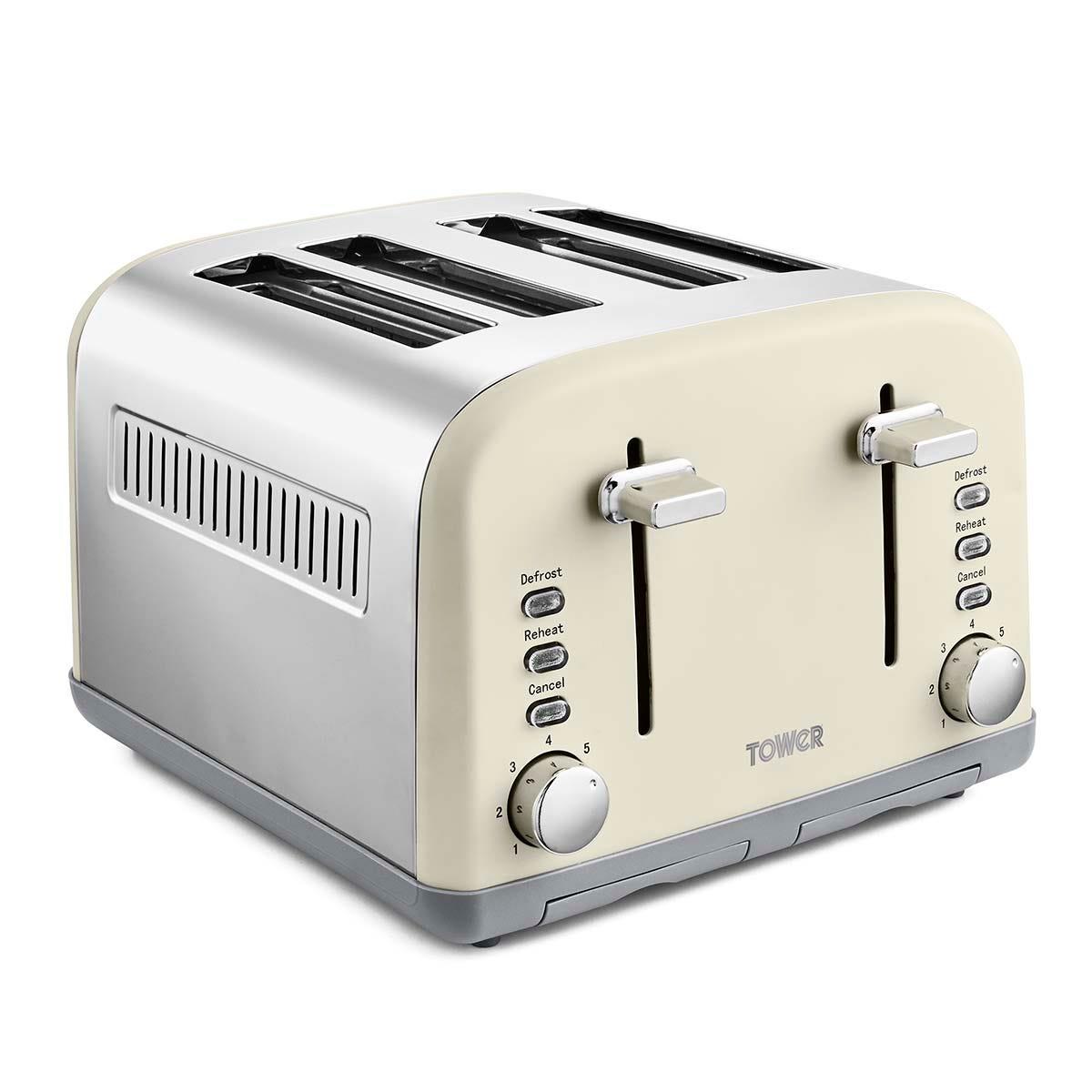 Tower T20042PEB Infinity Stone 4 Slice Toaster - Cream