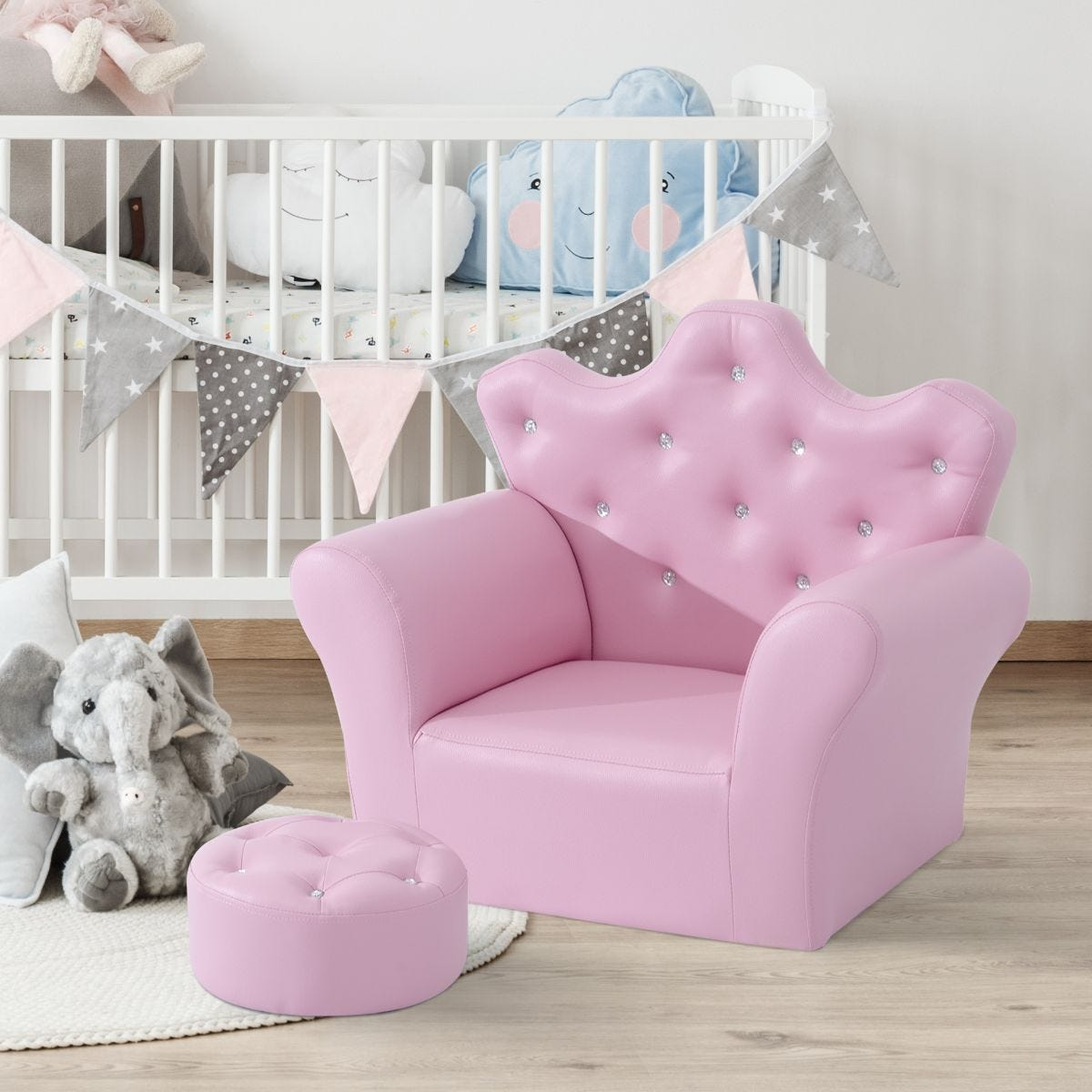 2 Piece Childs Princess Armchair And Ottoman For Ages 3 To 7 Pink