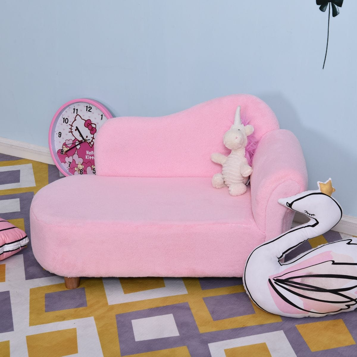 Childrens Princess Chaise Lounge Sofa Pink