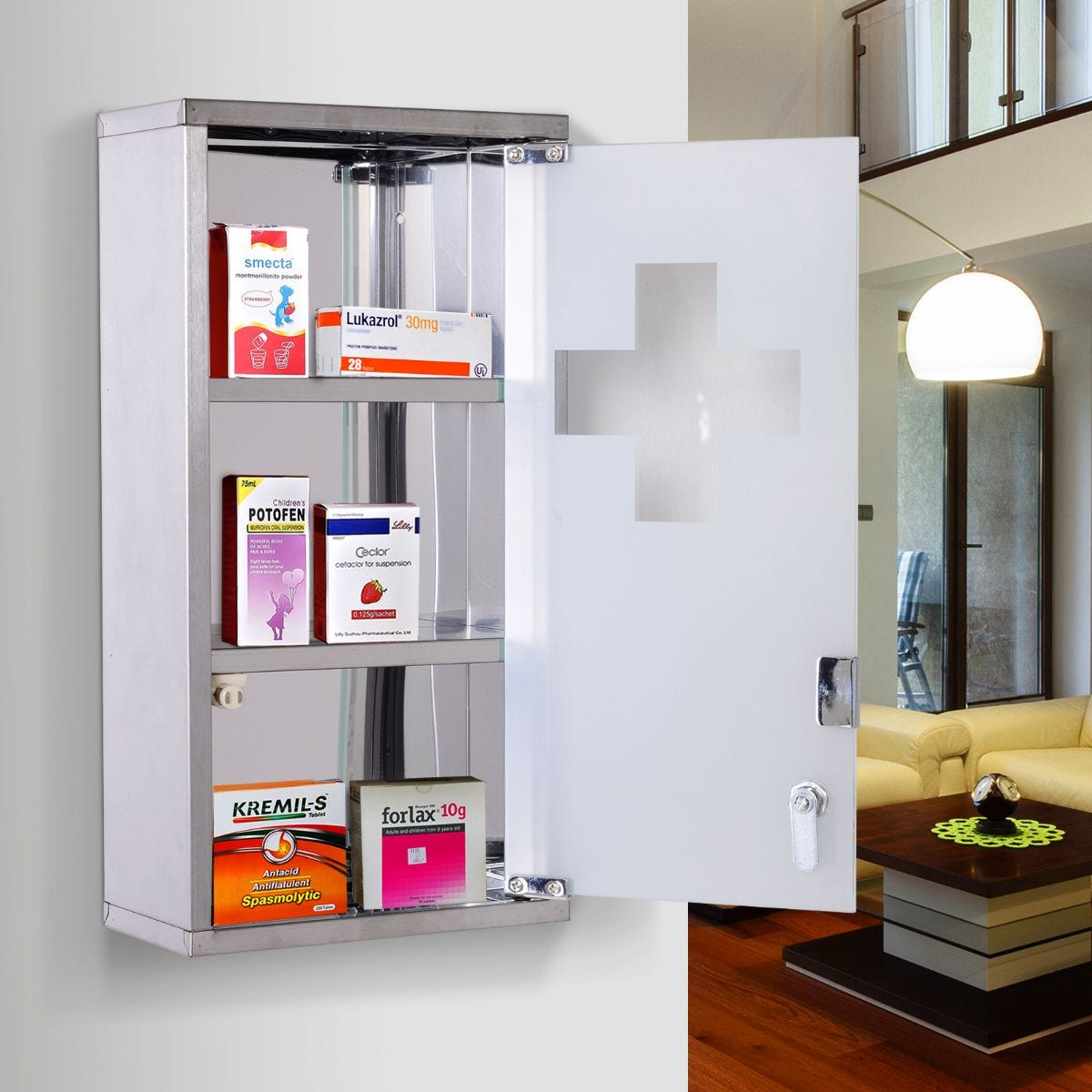 Wall Mounted First Aid Medicine Cabinet With Lockable Glass Door
