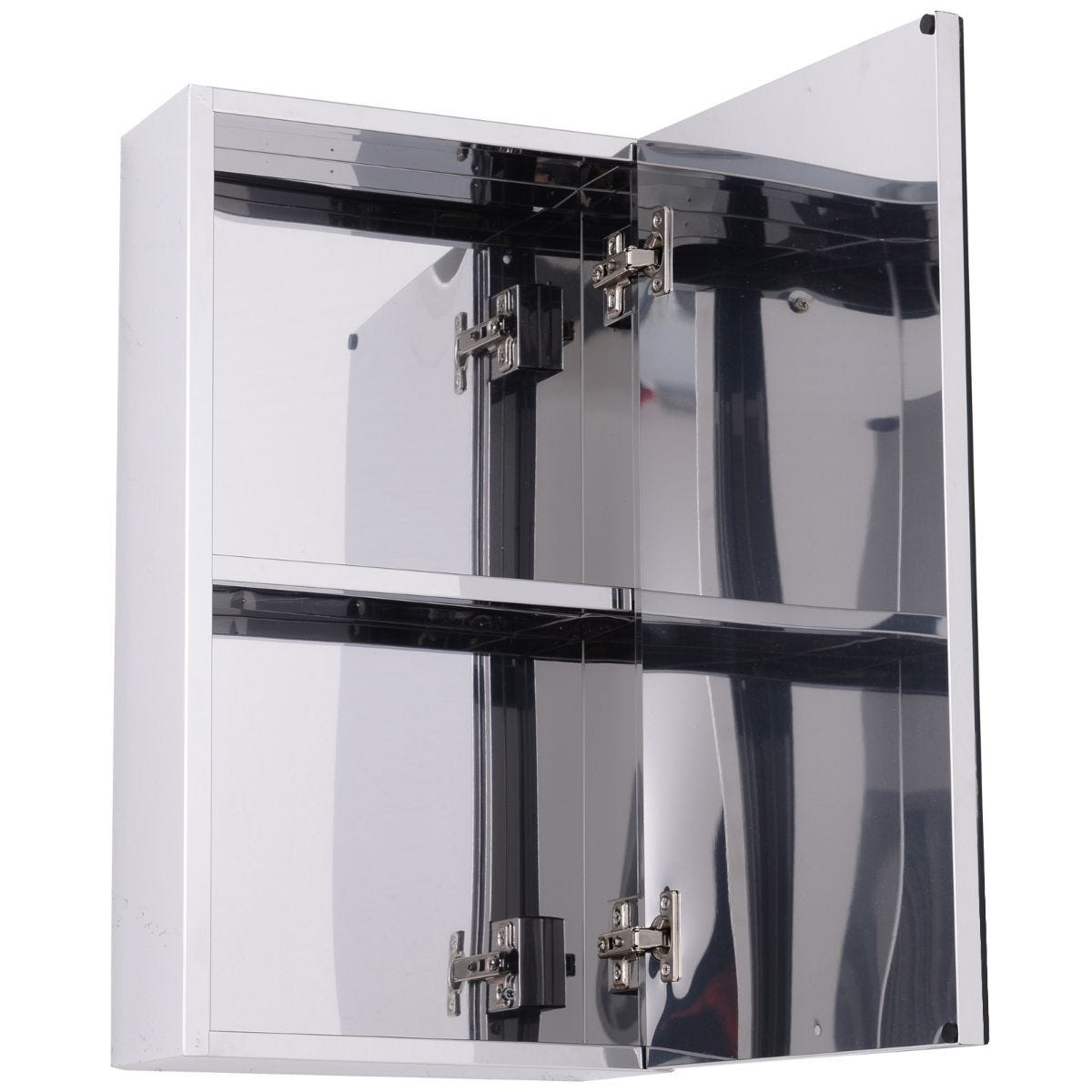 Wall Mounted Glass Bathroom Storage Cabinet With Mirror