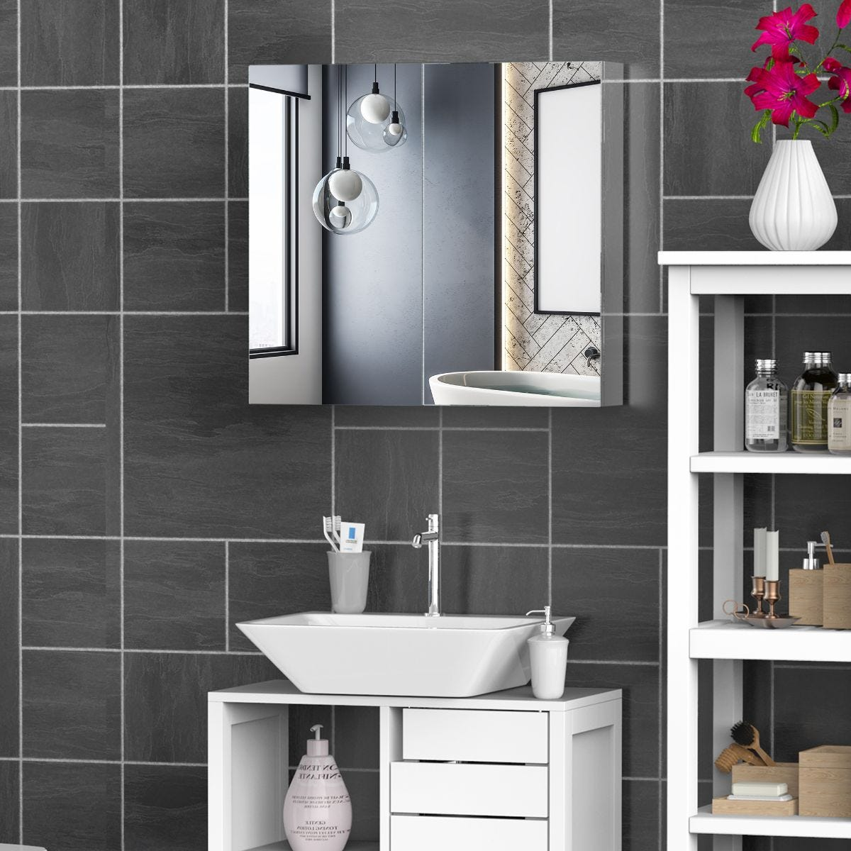 Wall Mounted Stainless Steel Bathroom Cabinet With Double Mirror Door