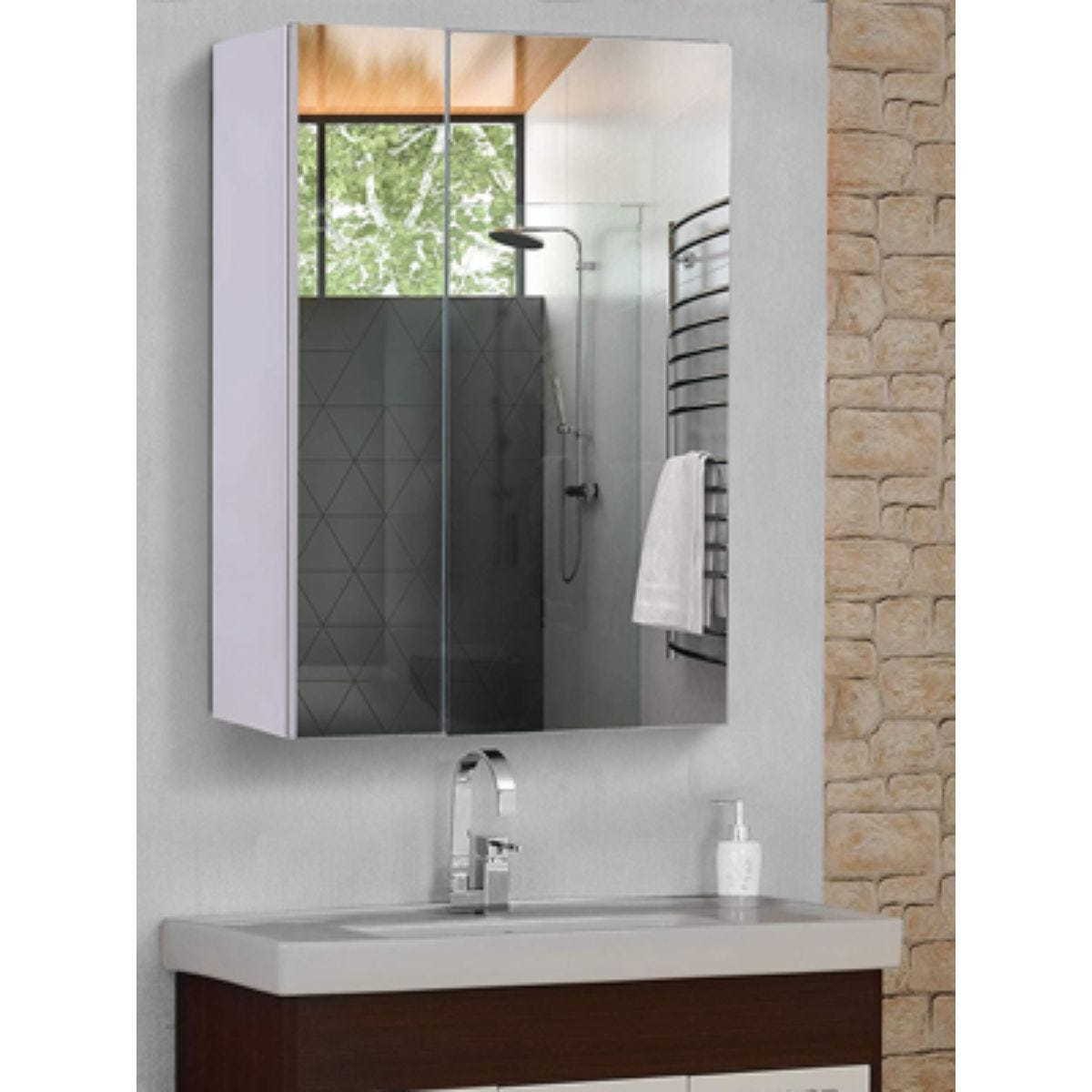 Stainless Steel Bathroom Storage Cabinet With Double Mirror Doors 430mm