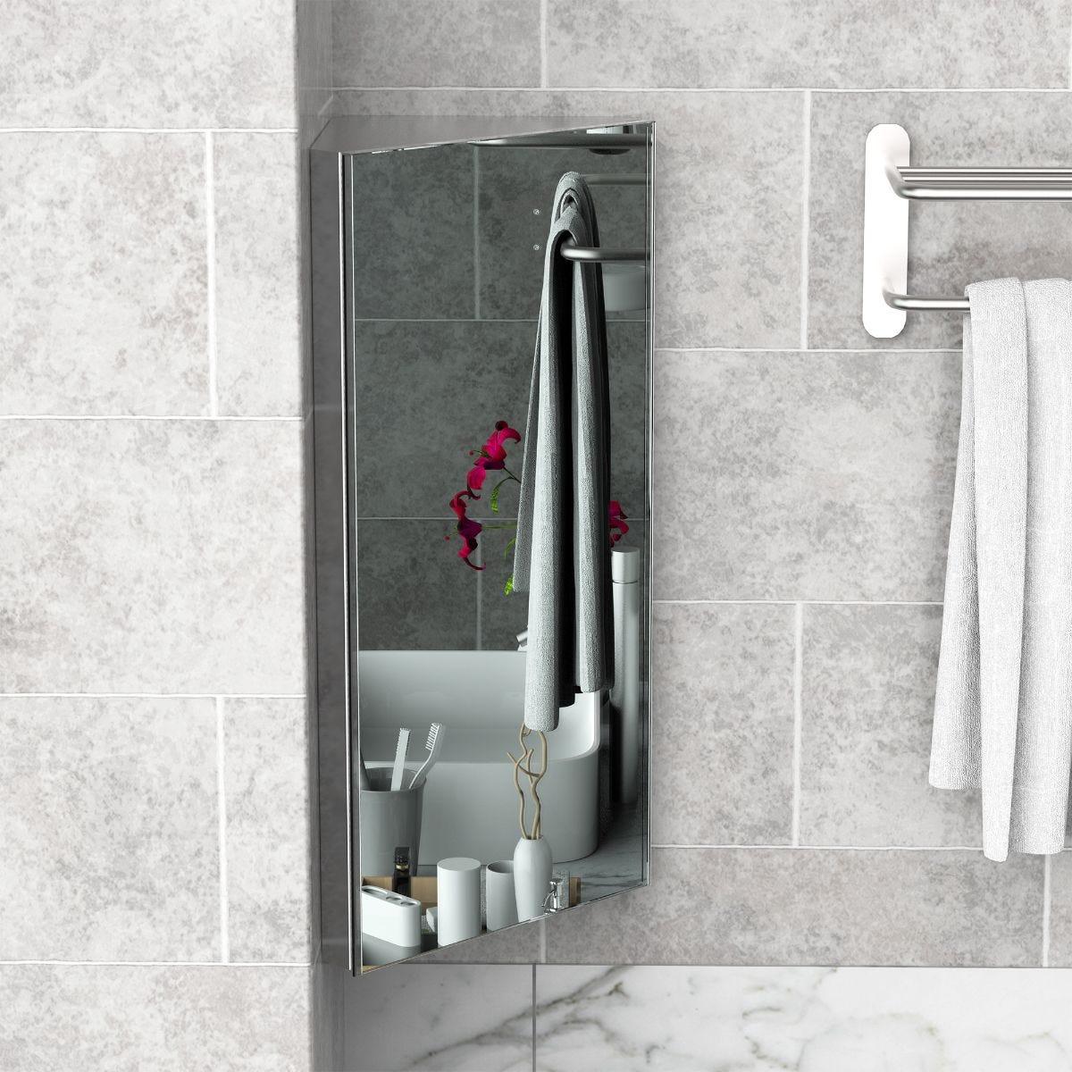 Corner Mirror Bathroom Storage Cabinet Stainless Steel