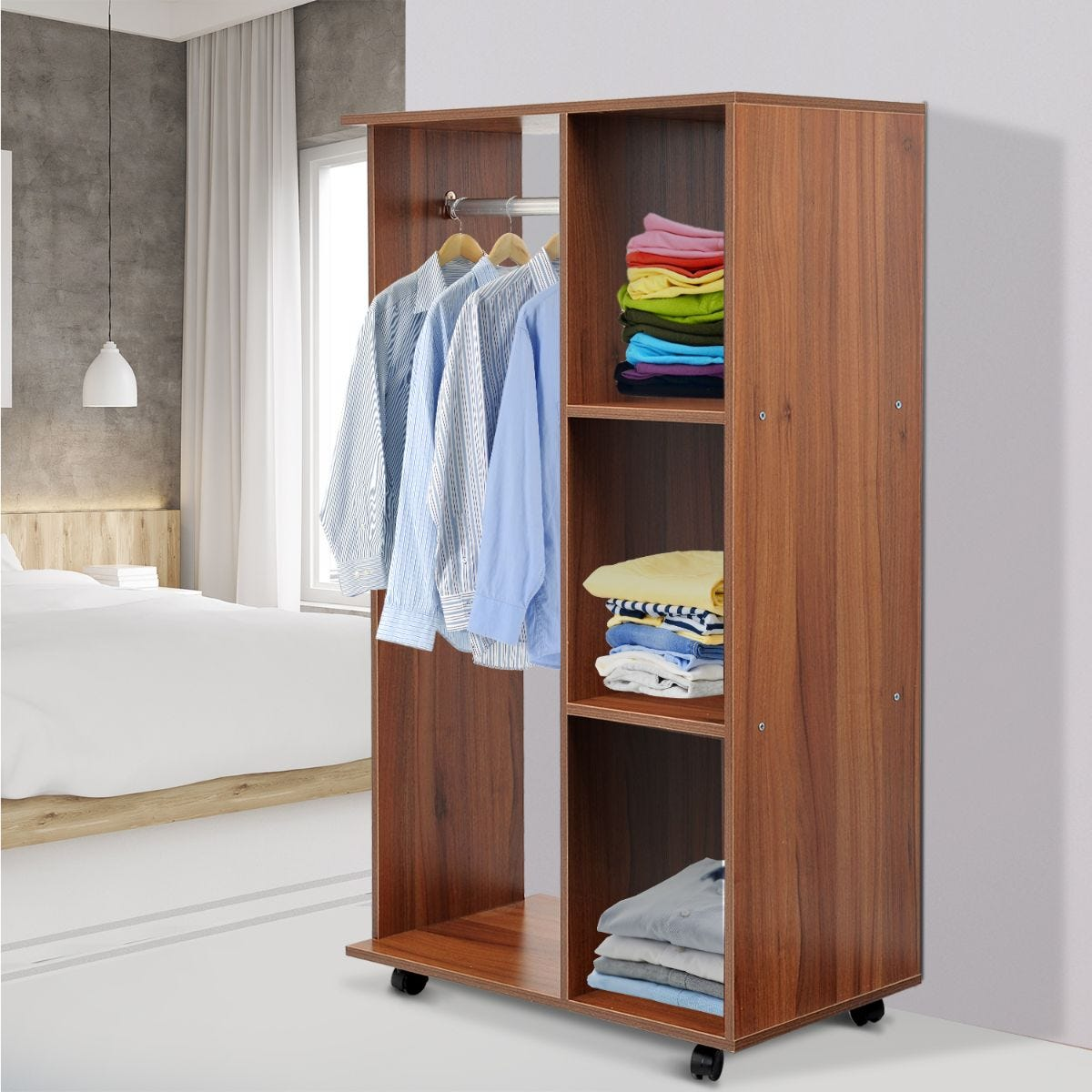 Rolling Open Wardrobe With Hanging Rail And Storage Shelves Walnut