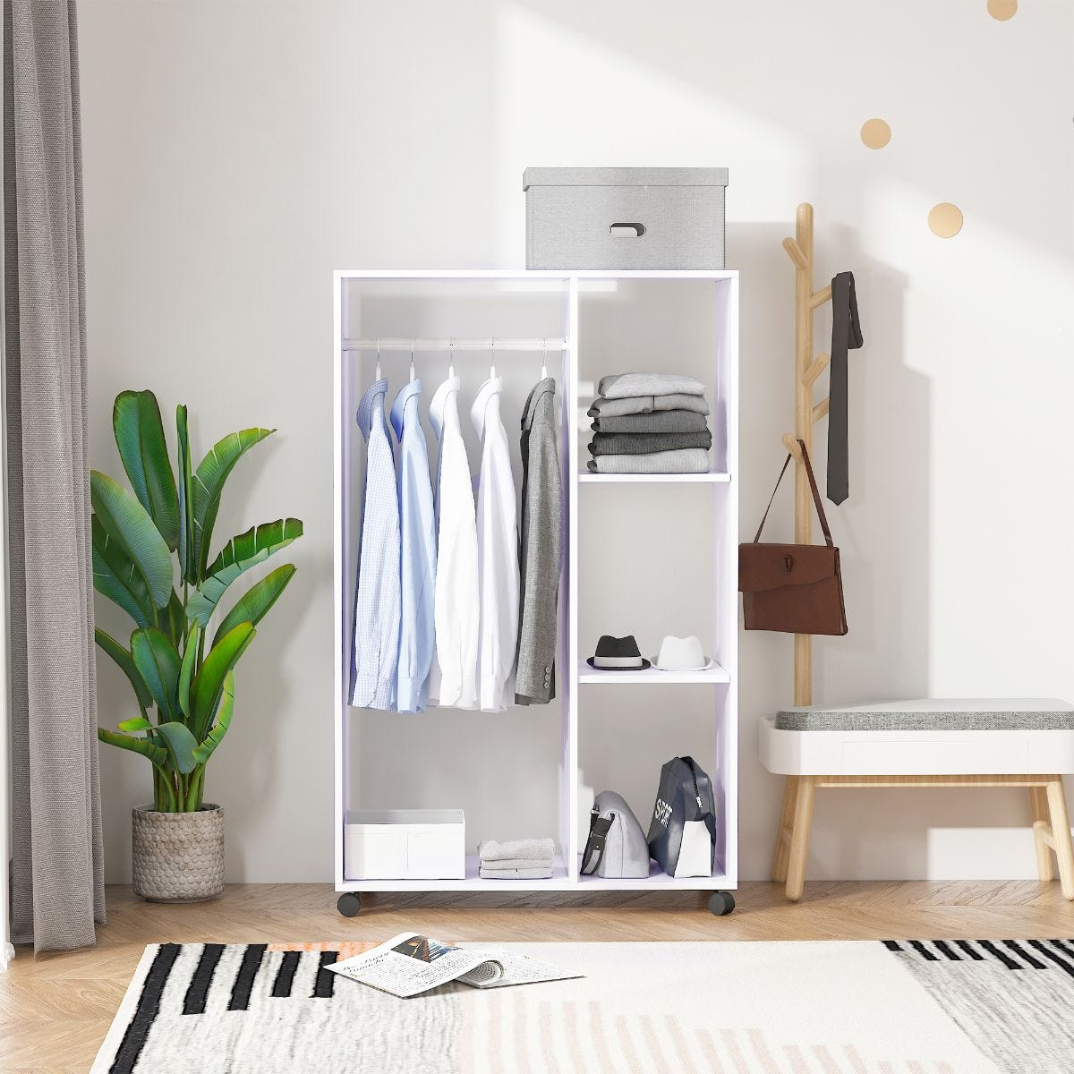 Rolling Open Wardrobe With Hanging Rail And Storage Shelves White