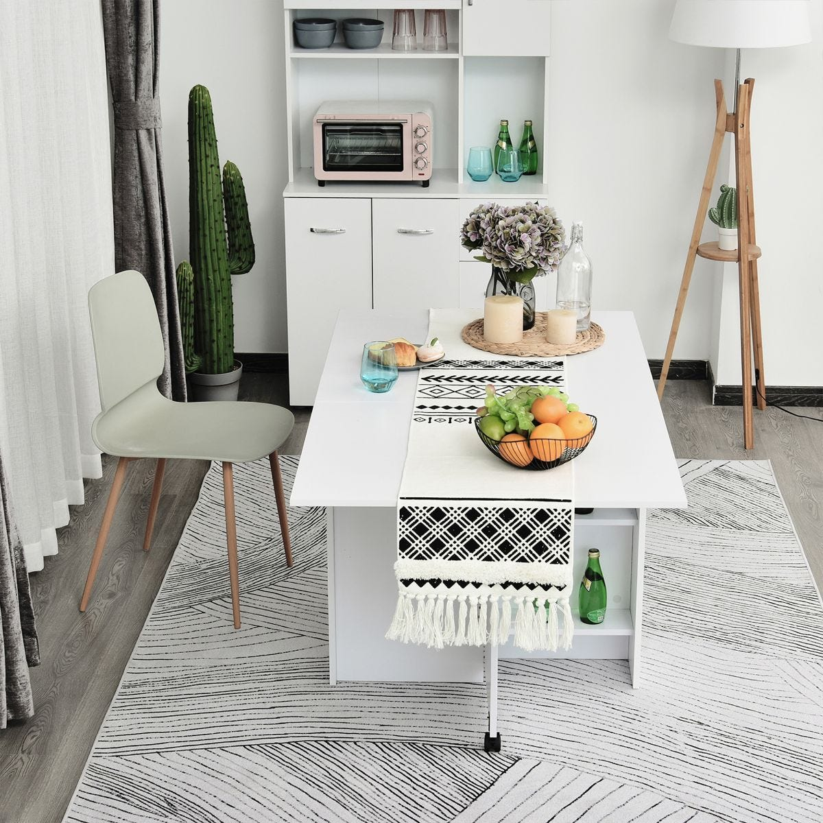 Mobile Drop Leaf Dining Table Folding Desk With 2 Wheels And Storage Shelves White