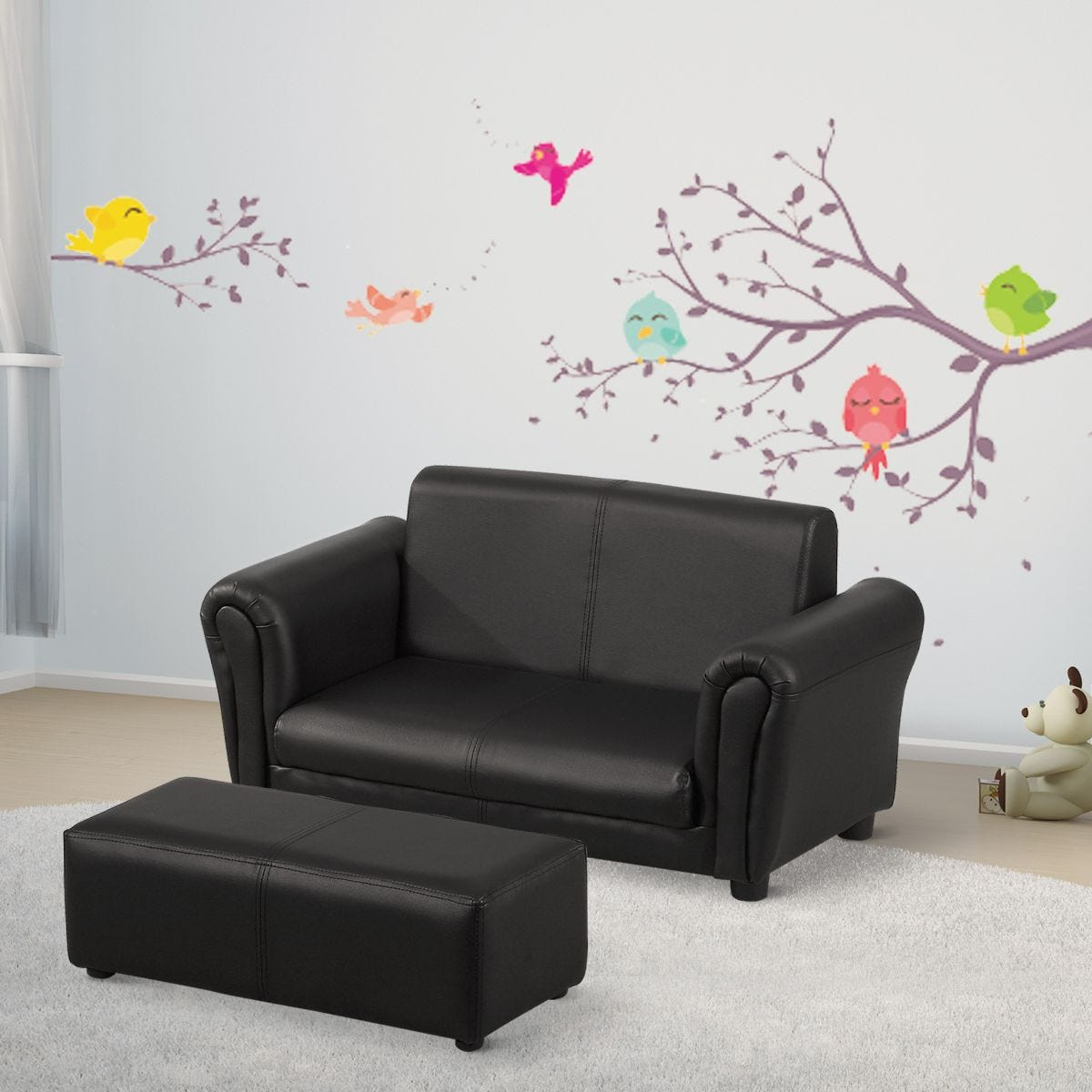 Kids Two Seater Sofa Childrens Armchair With Foot Stool Black
