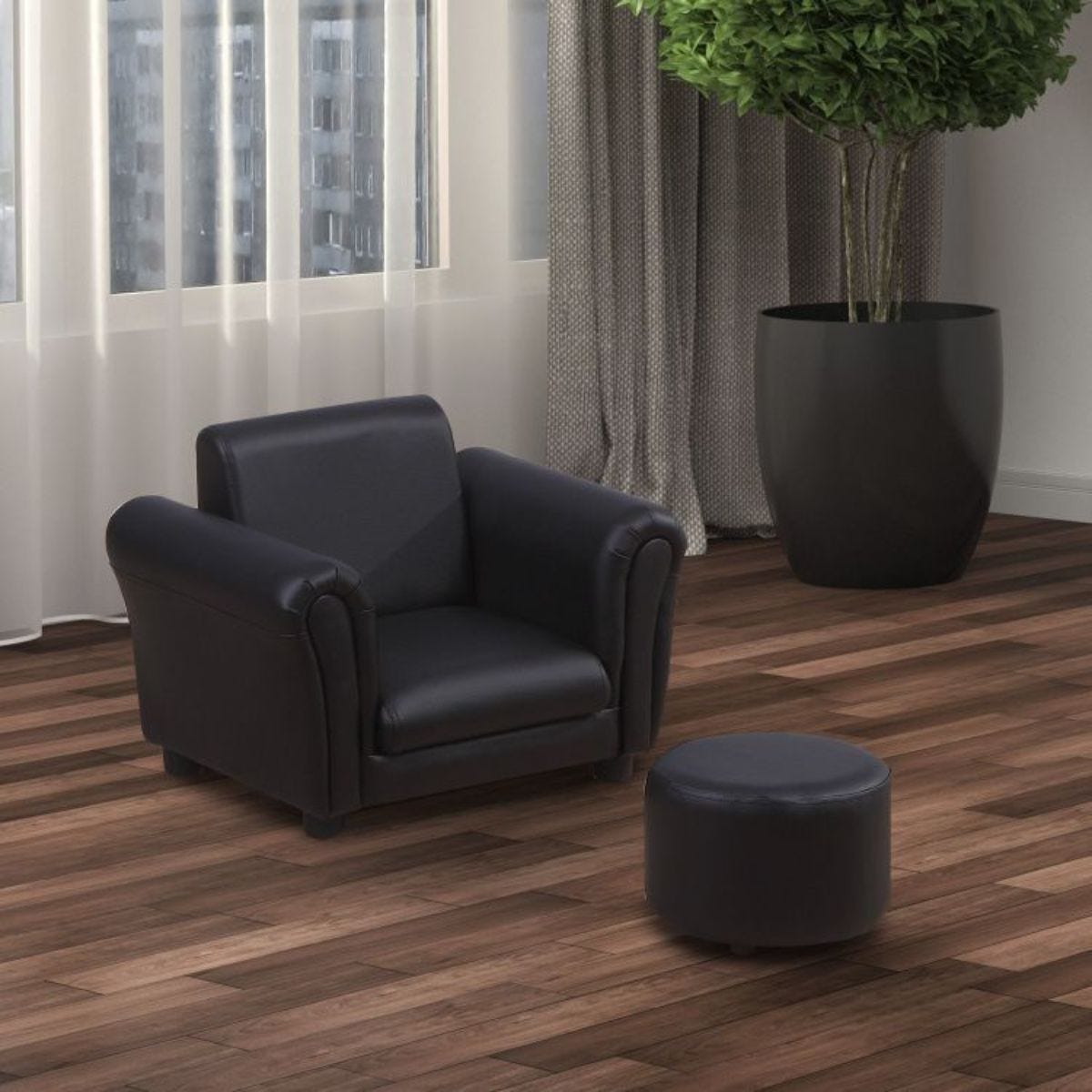 Two Piece Kids Armchair Set With Stool Black