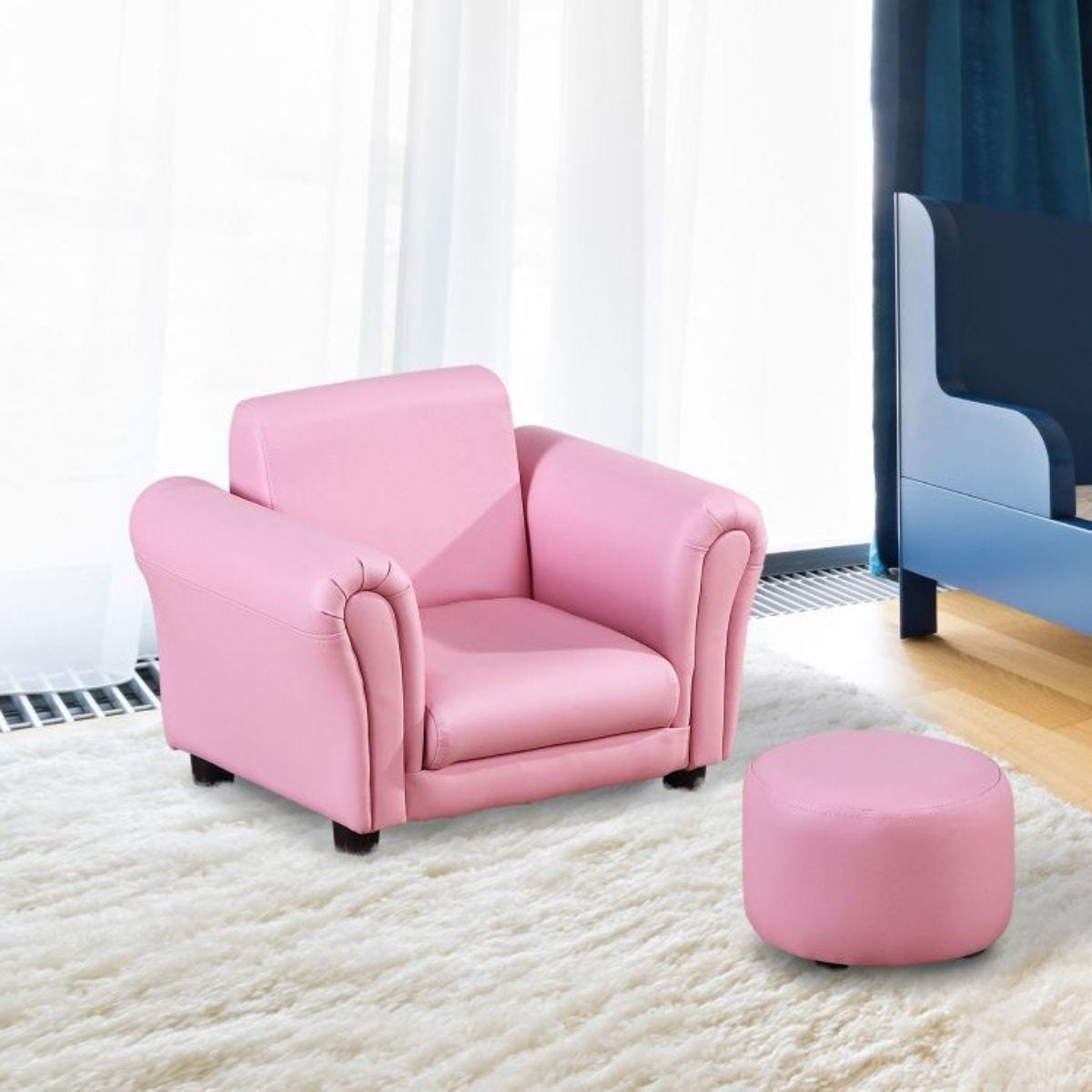 Two Piece Kids Armchair Set With Stool Pink