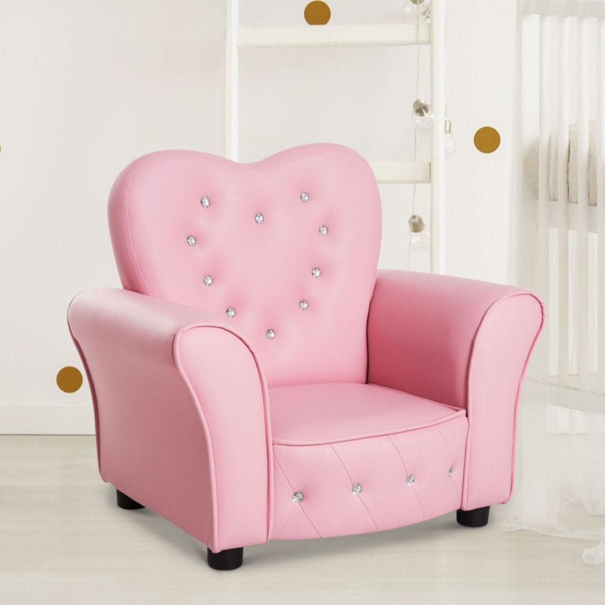 Childrens Princess Faux Leather Armchair With Crystal Detail Pink